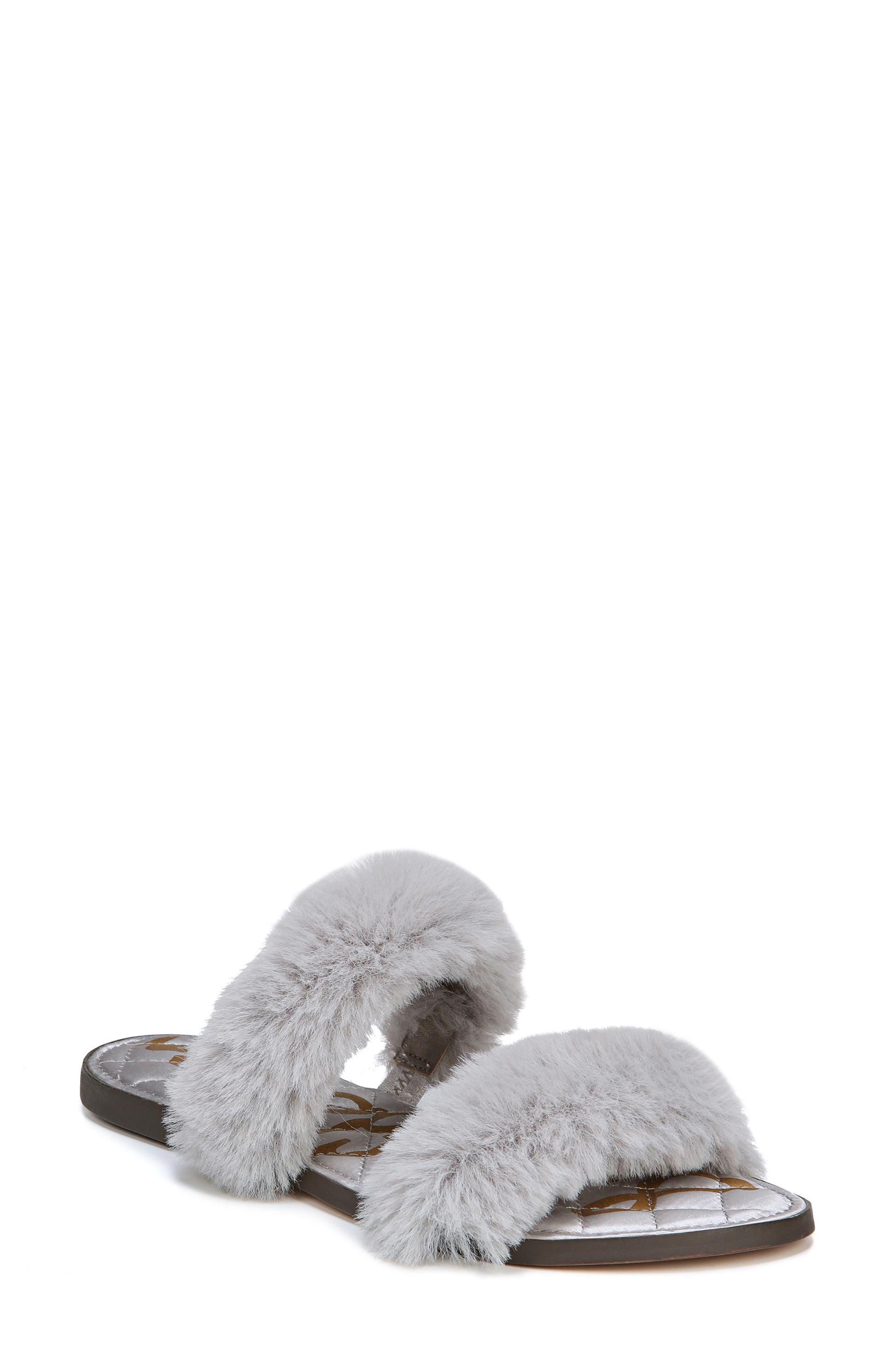 Griselda Faux Fur Slide Sandal,                         Main,                         color, Light Grey Faux Fur