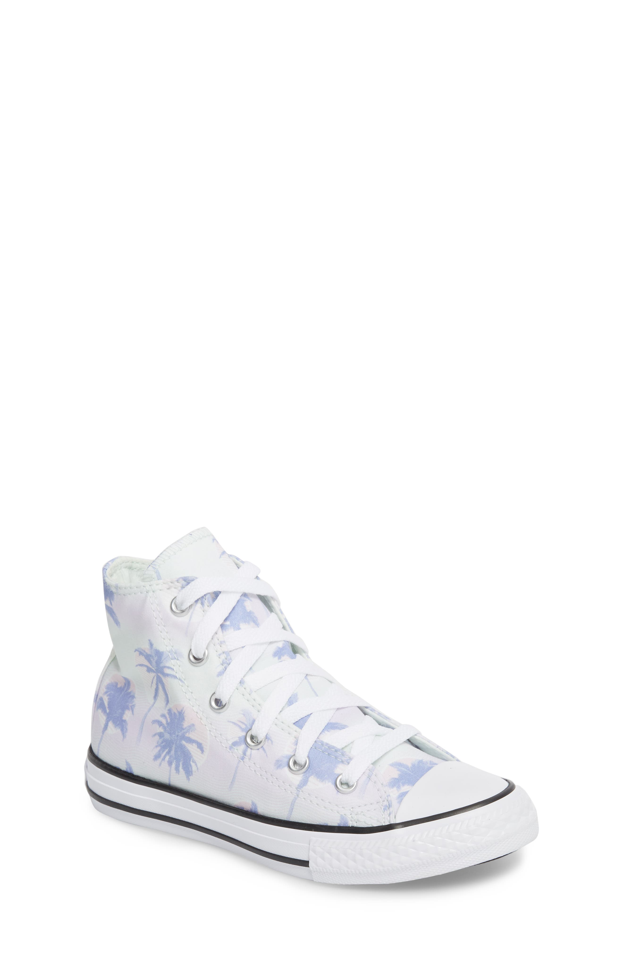 Chuck Taylor<sup>®</sup> All Star<sup>®</sup> Palm Tree High Top Sneaker,                         Main,                         color, Purple