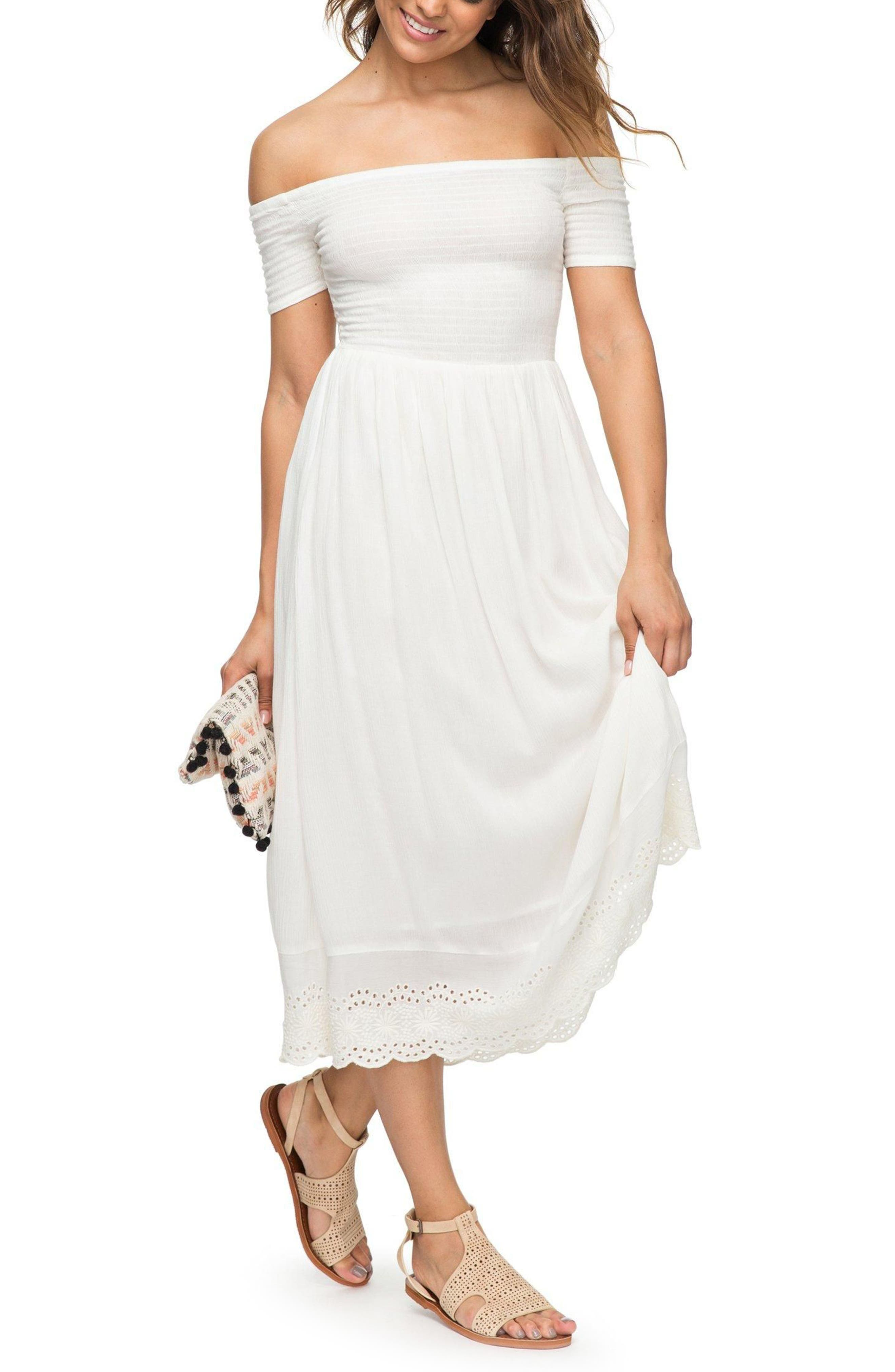 Pretty Lovers Off the Shoulder Midi Dress,                         Main,                         color, Marshmallow1