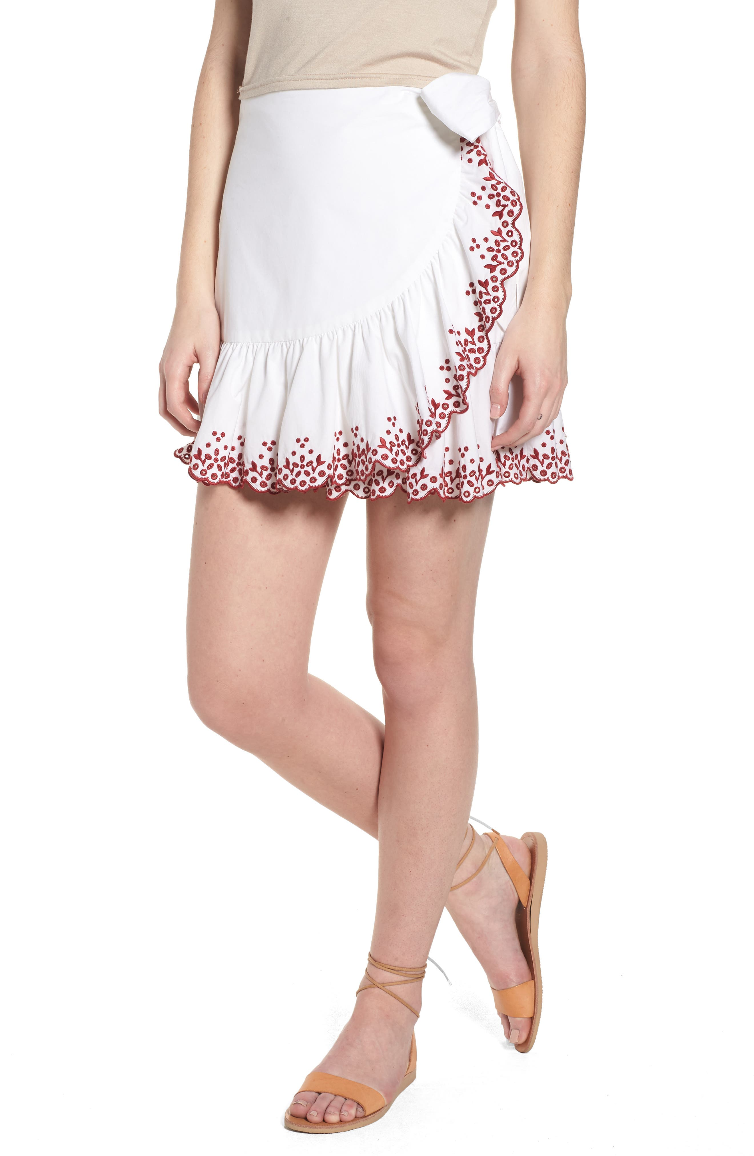 Alice Faux Wrap Skirt,                             Main thumbnail 1, color,                             White/ Red