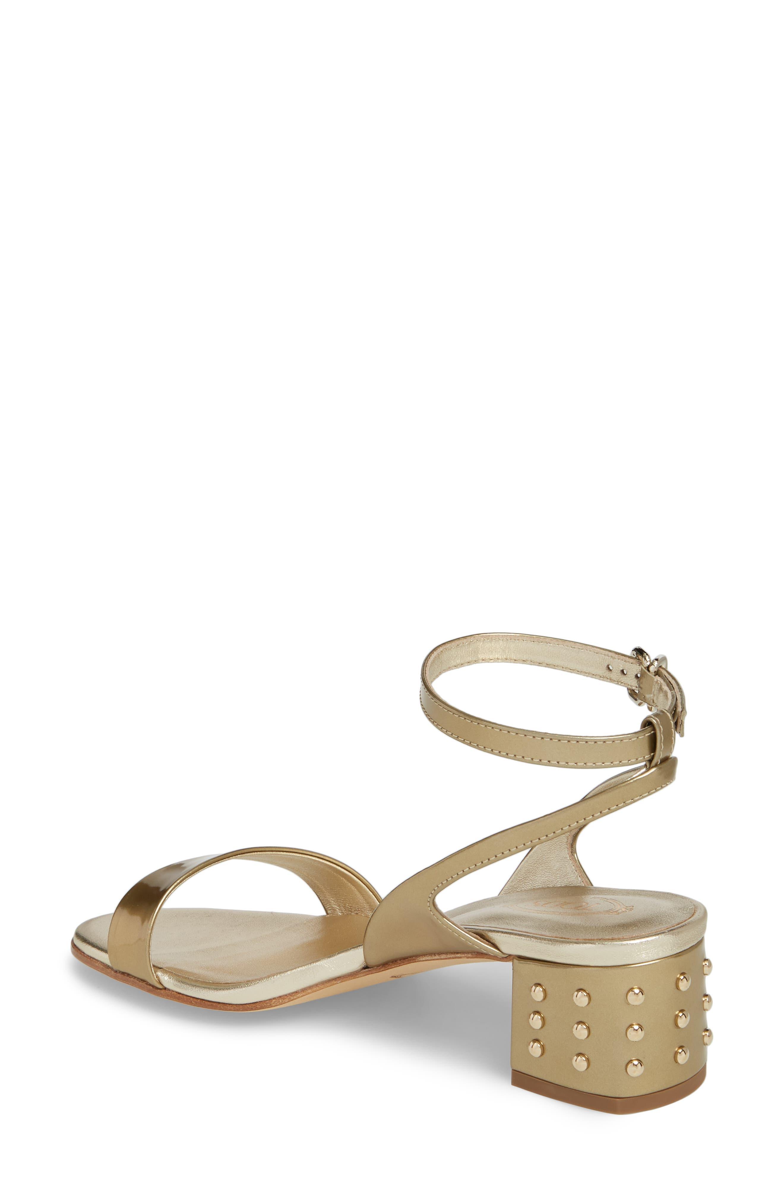 Gommini Block Heel Sandal,                             Alternate thumbnail 2, color,                             Gold