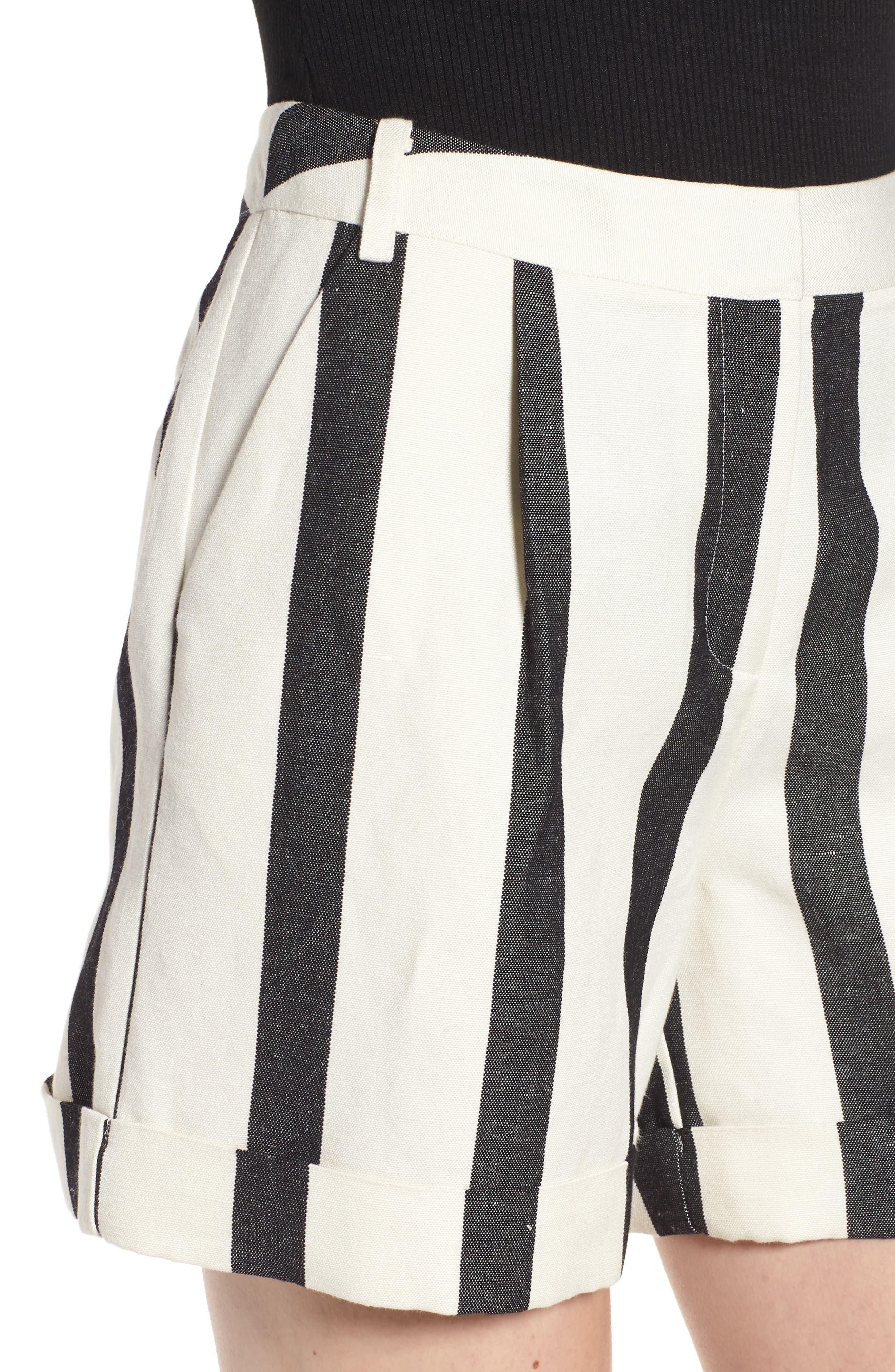Stripe Cuff Shorts,                             Alternate thumbnail 4, color,                             Black- Ivory Bold Stripe