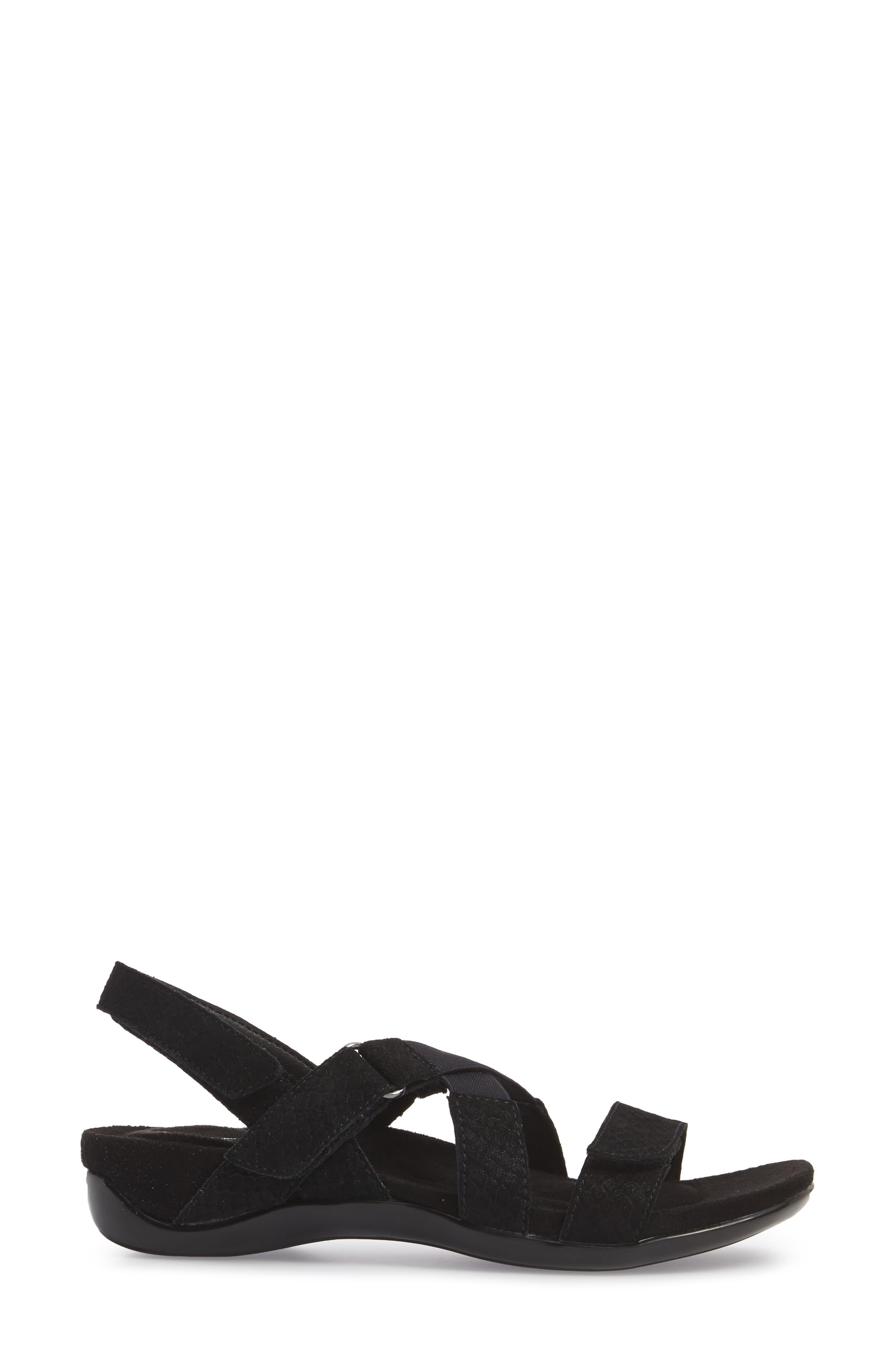 Vicki Slingback Sandal,                             Alternate thumbnail 3, color,                             Black Printed Leather