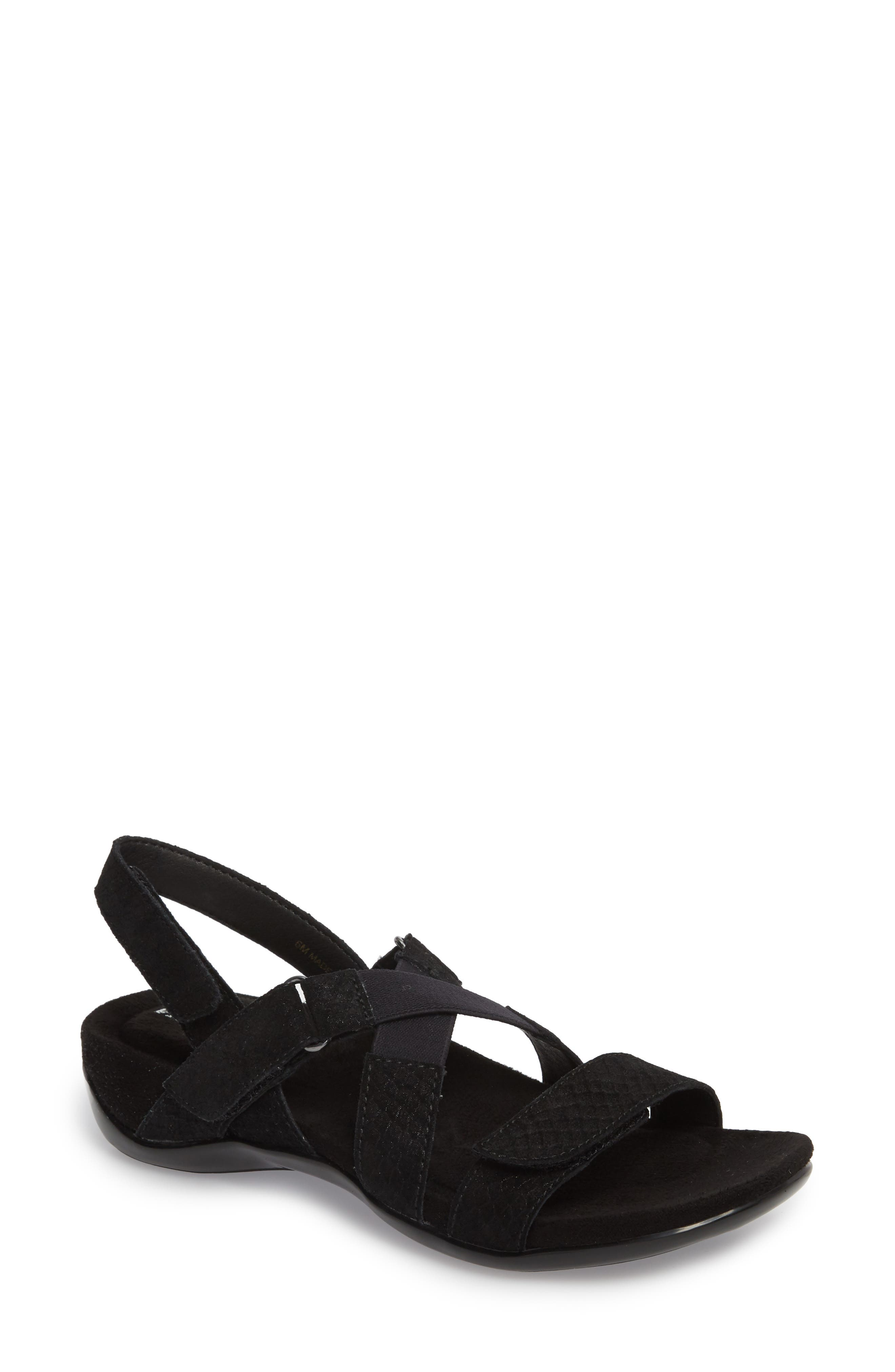 Vicki Slingback Sandal,                             Main thumbnail 1, color,                             Black Printed Leather