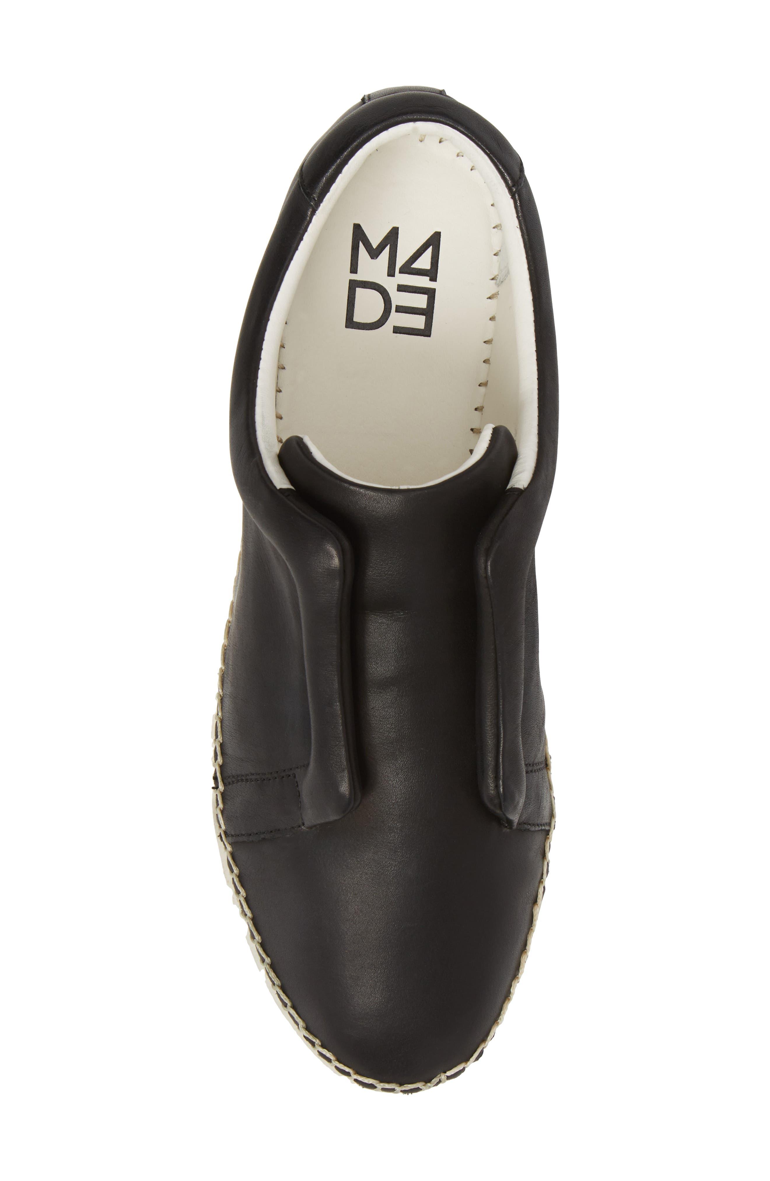 M4D3 Elizabeth Espadrille Slip-On Sneaker,                             Alternate thumbnail 5, color,                             Black Leather