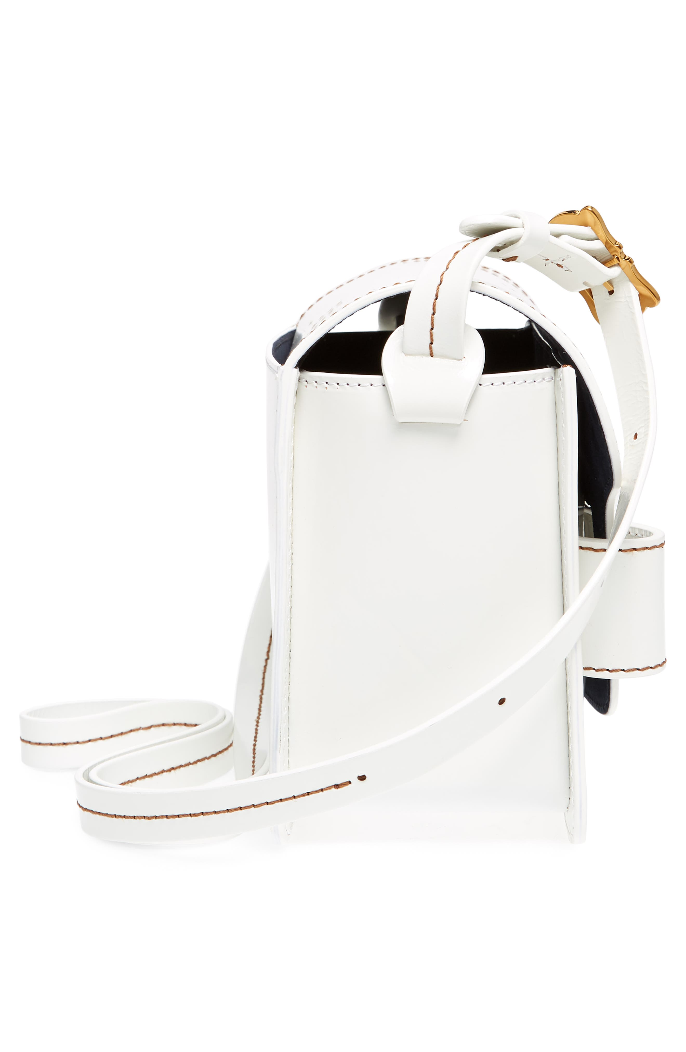 Greta Leather Crossbody Bag,                             Alternate thumbnail 4, color,                             White