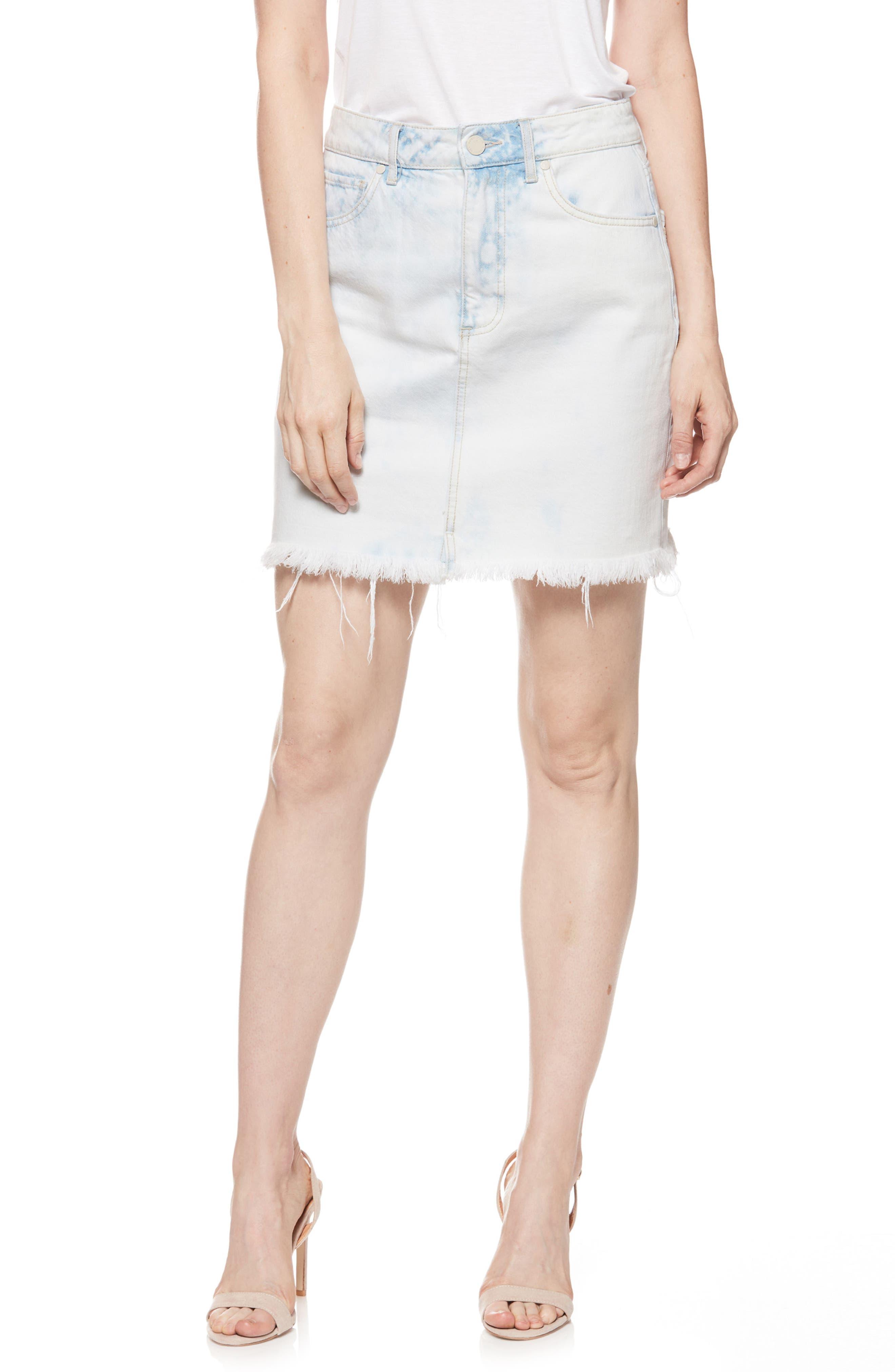 Jamine High Waist Denim Skirt,                             Main thumbnail 1, color,                             Misty Cloud