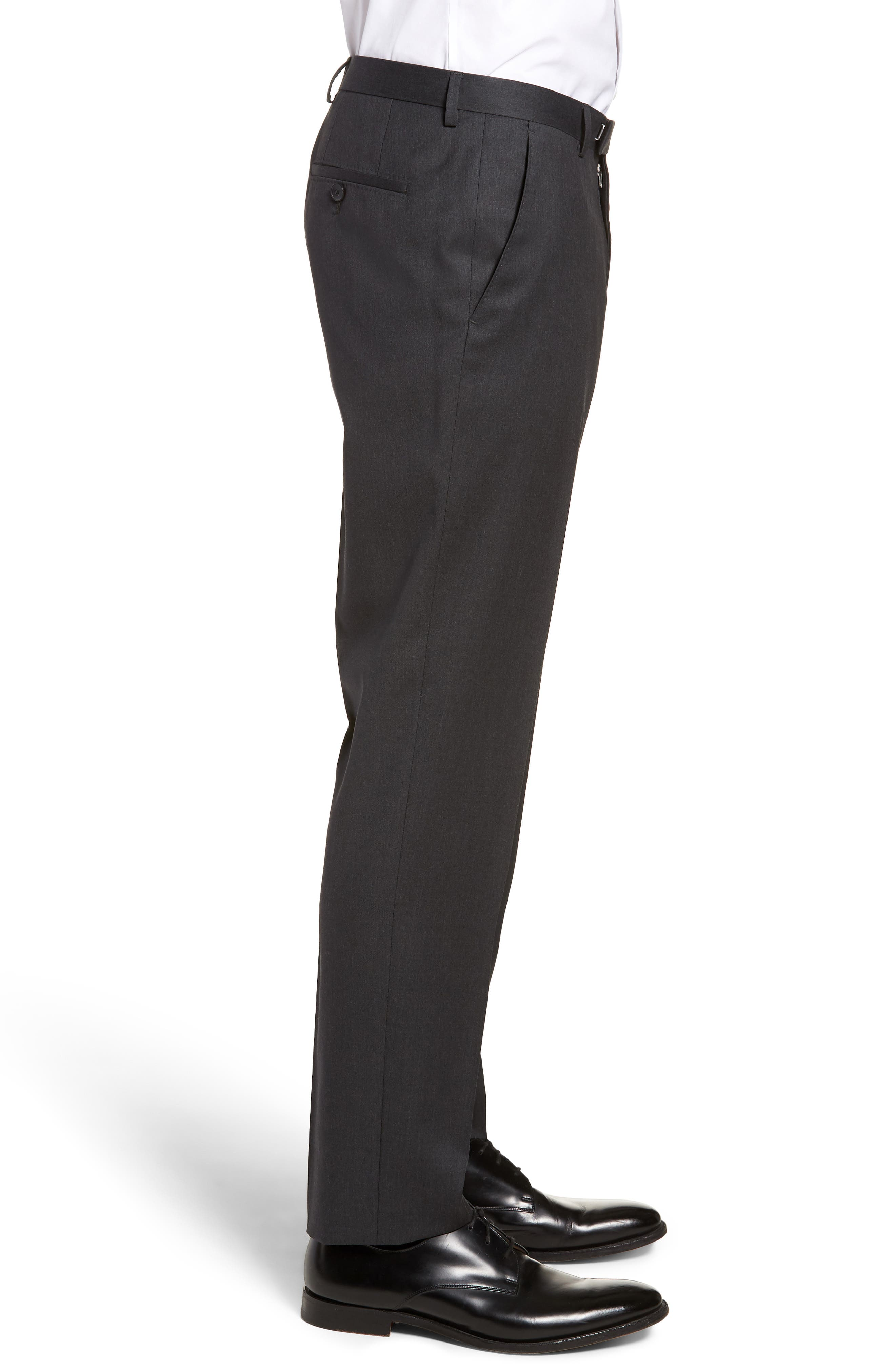 Lenon CYL Flat Front Solid Wool Trousers,                             Alternate thumbnail 3, color,                             Dark Grey