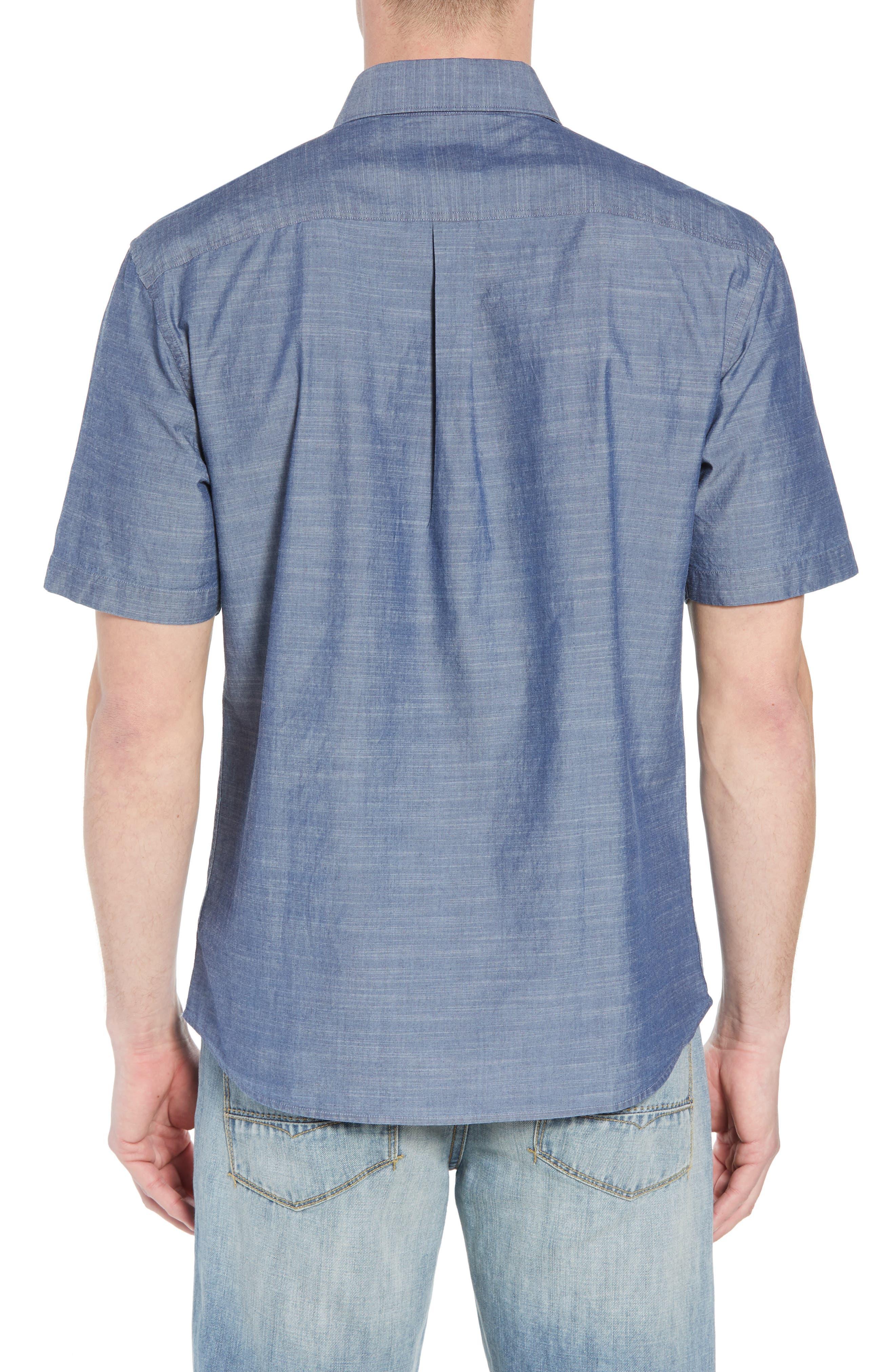 Lucas Regular Fit Chambray Sport Shirt,                             Alternate thumbnail 3, color,                             Indigo