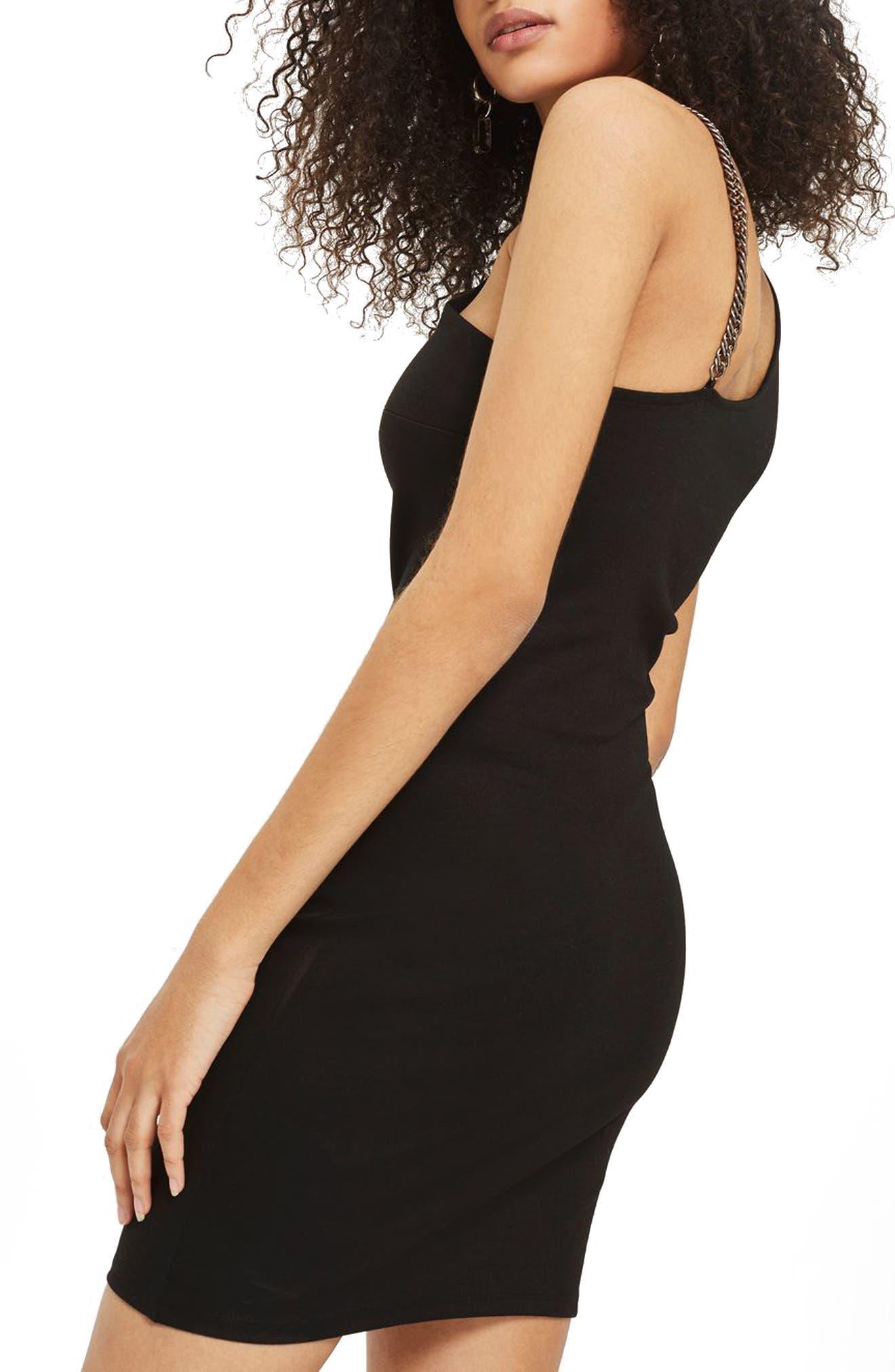 Chain Curve Mini Body-Con Dress,                             Alternate thumbnail 2, color,                             Black Multi