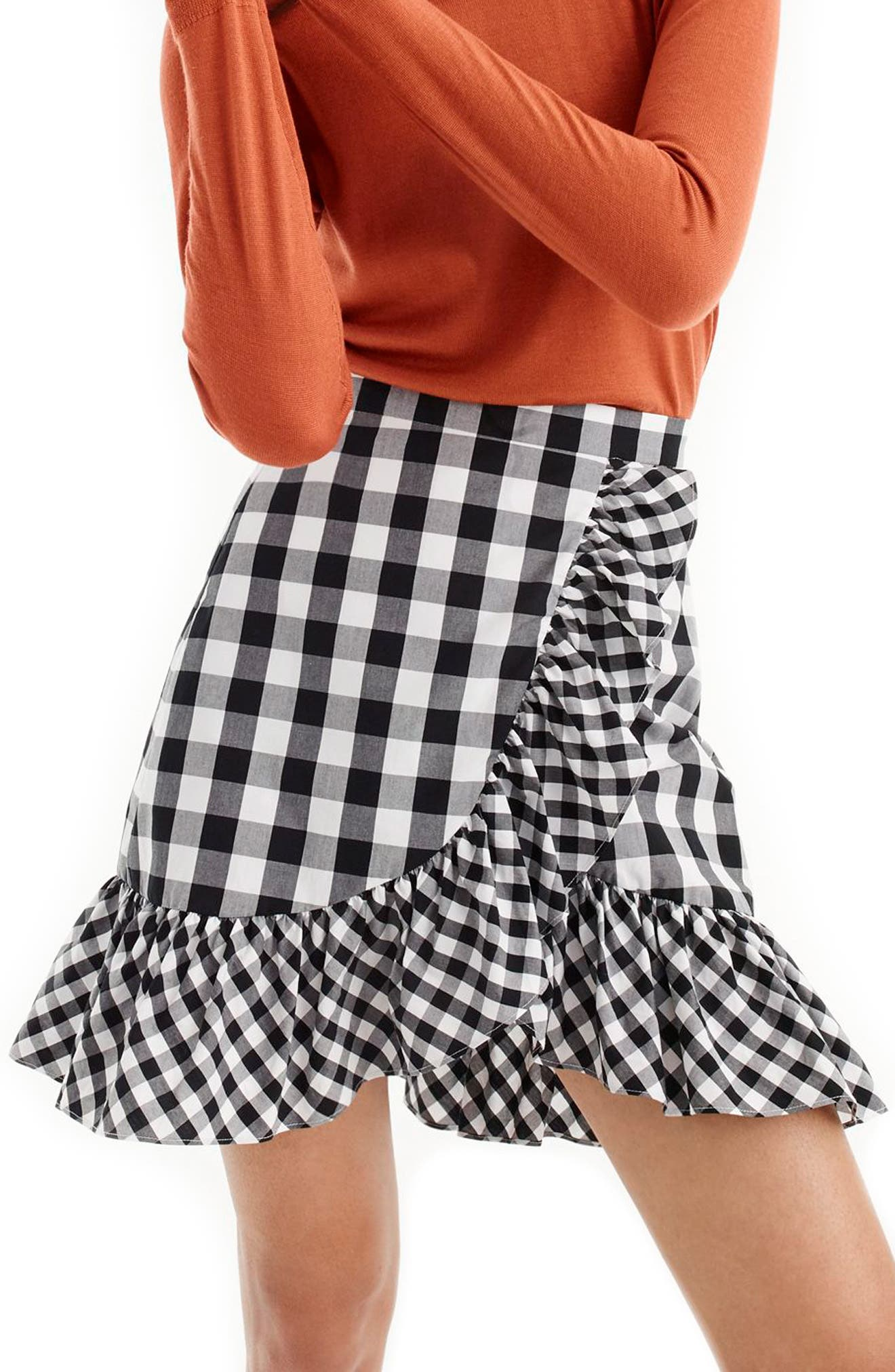 Pistachio Gingham Cotton Poplin Ruffle Skirt,                             Main thumbnail 1, color,                             Black