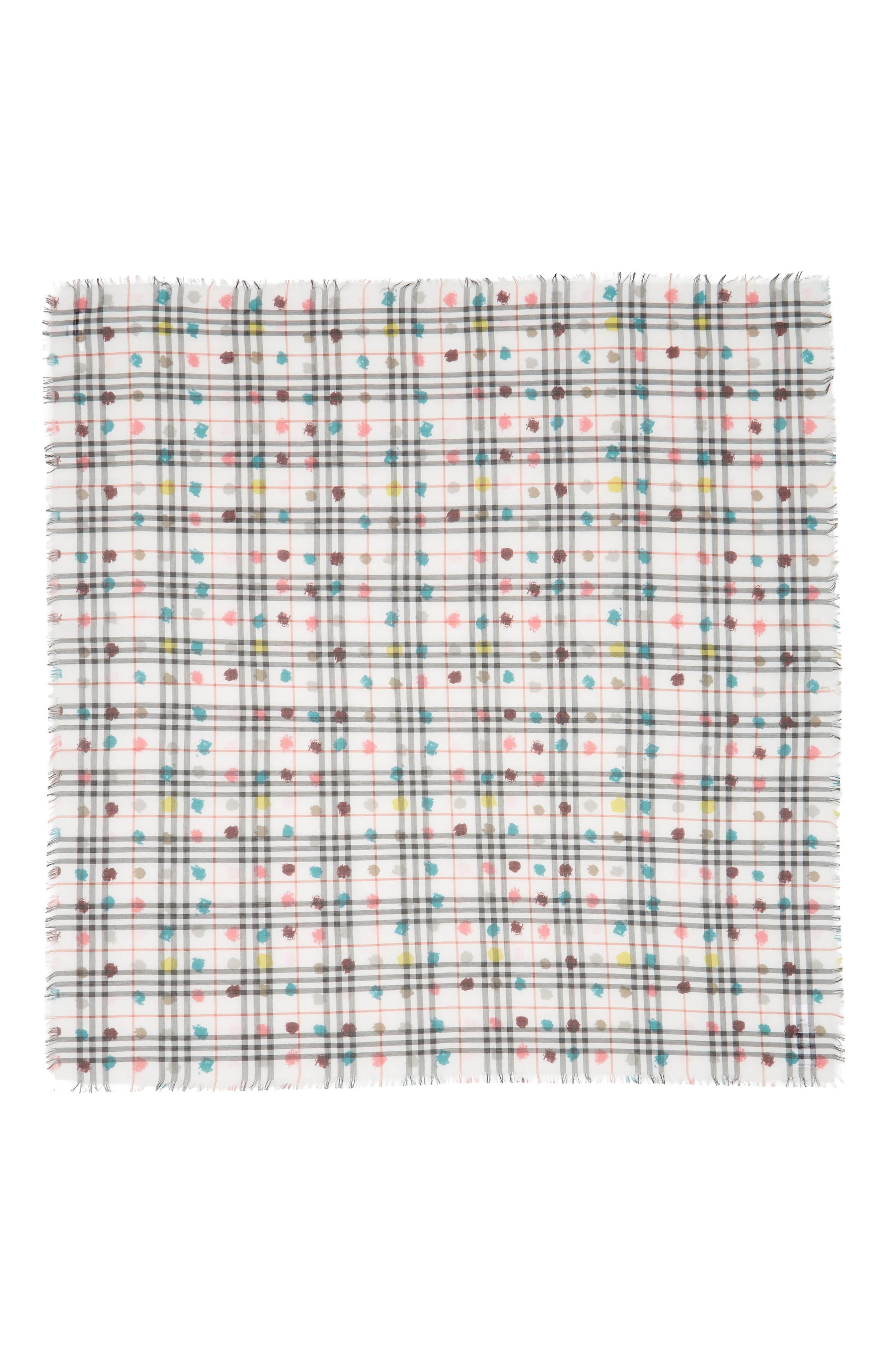Spot Check Cotton Square Scarf,                             Alternate thumbnail 4, color,                             White