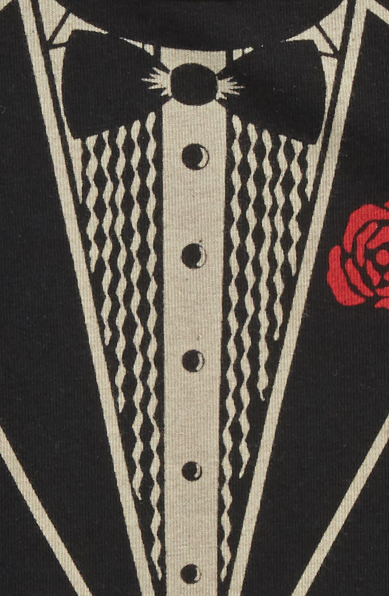 Tuxedo Romper,                             Alternate thumbnail 3, color,                             Black