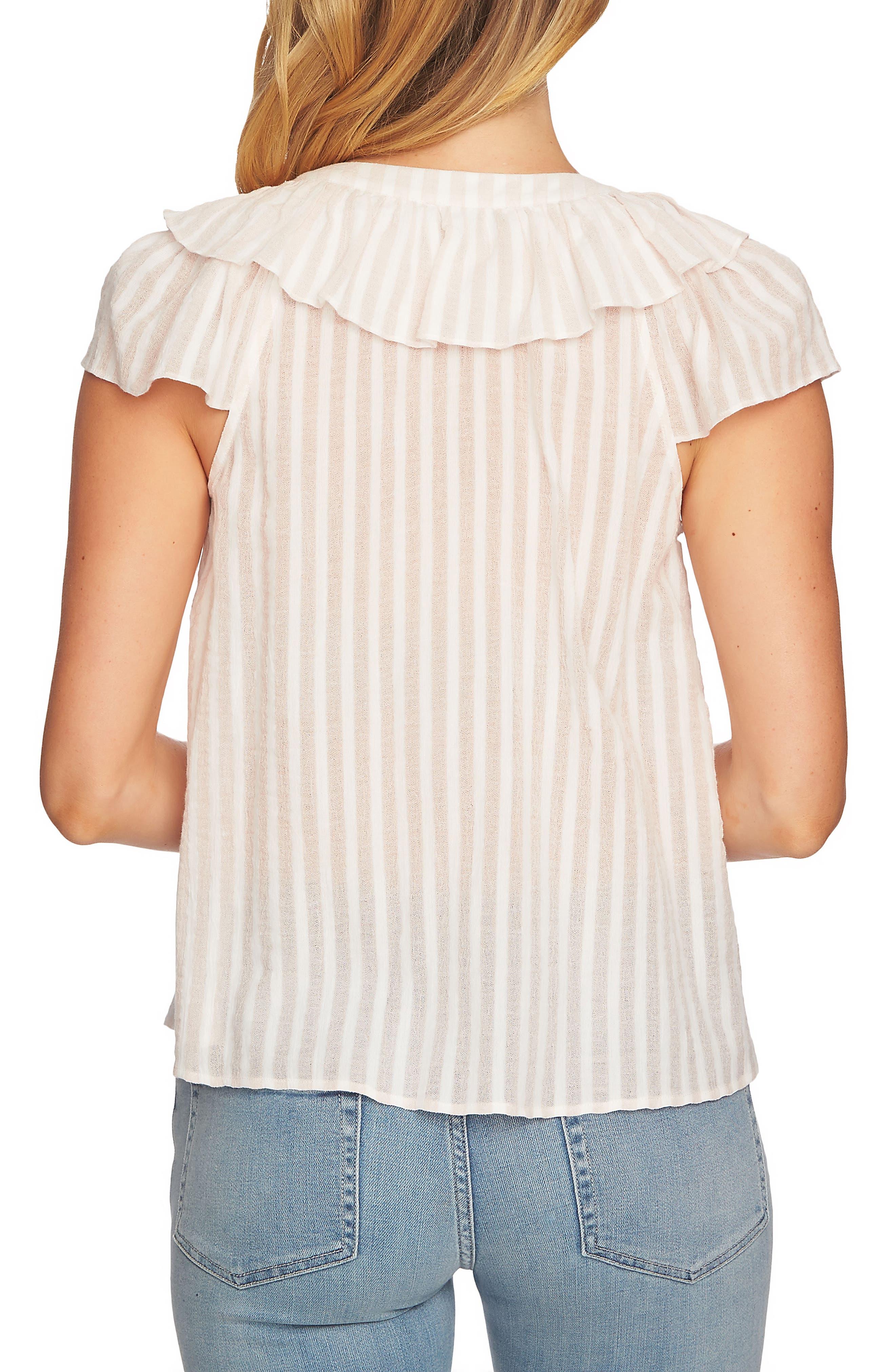 Lace Up Ruffle Stripe Cotton Blouse,                             Alternate thumbnail 2, color,                             Floret Pink