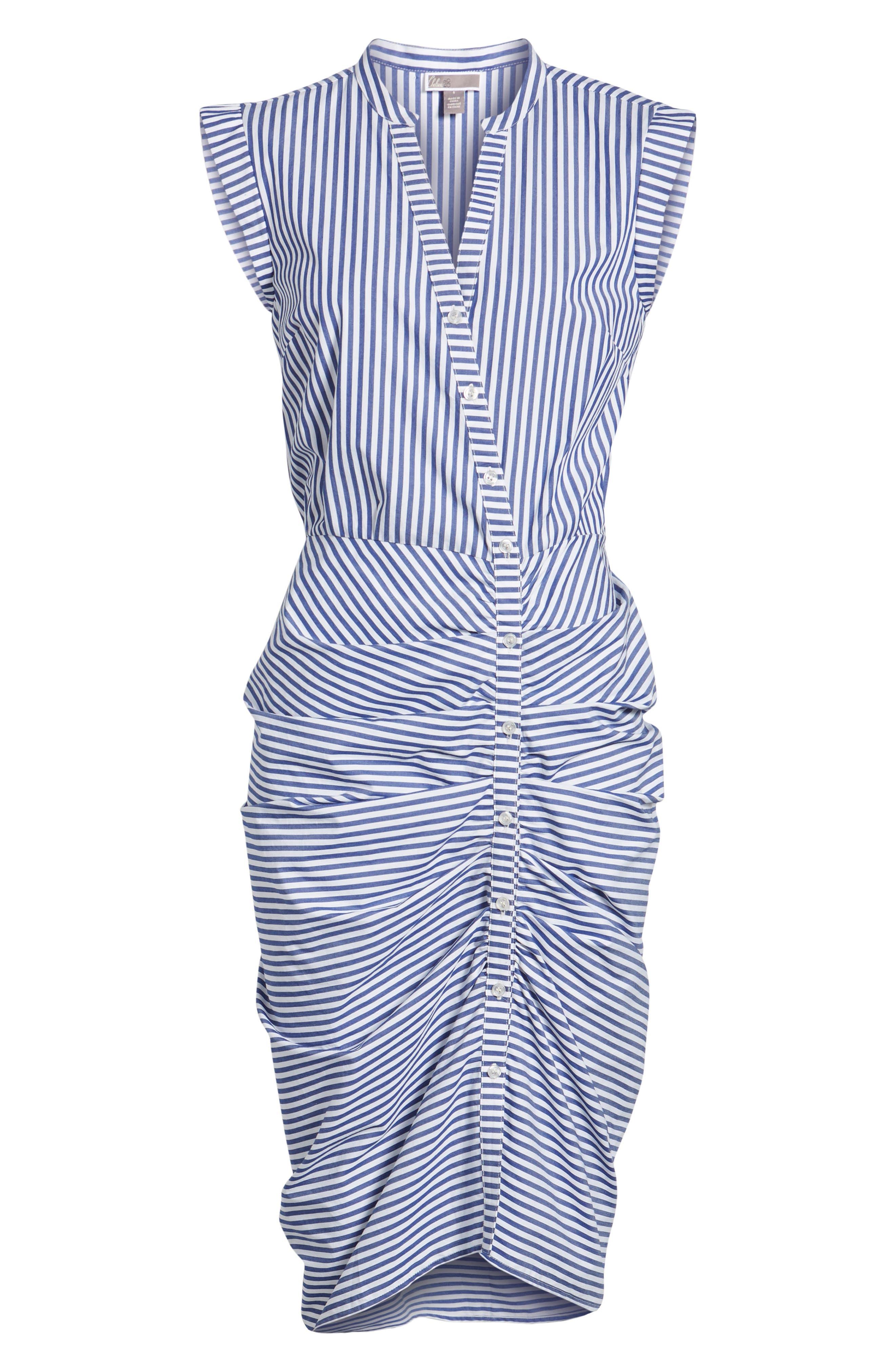 Stripe Ruched Cotton Shirtdress,                             Alternate thumbnail 13, color,                             Blue White Stripe