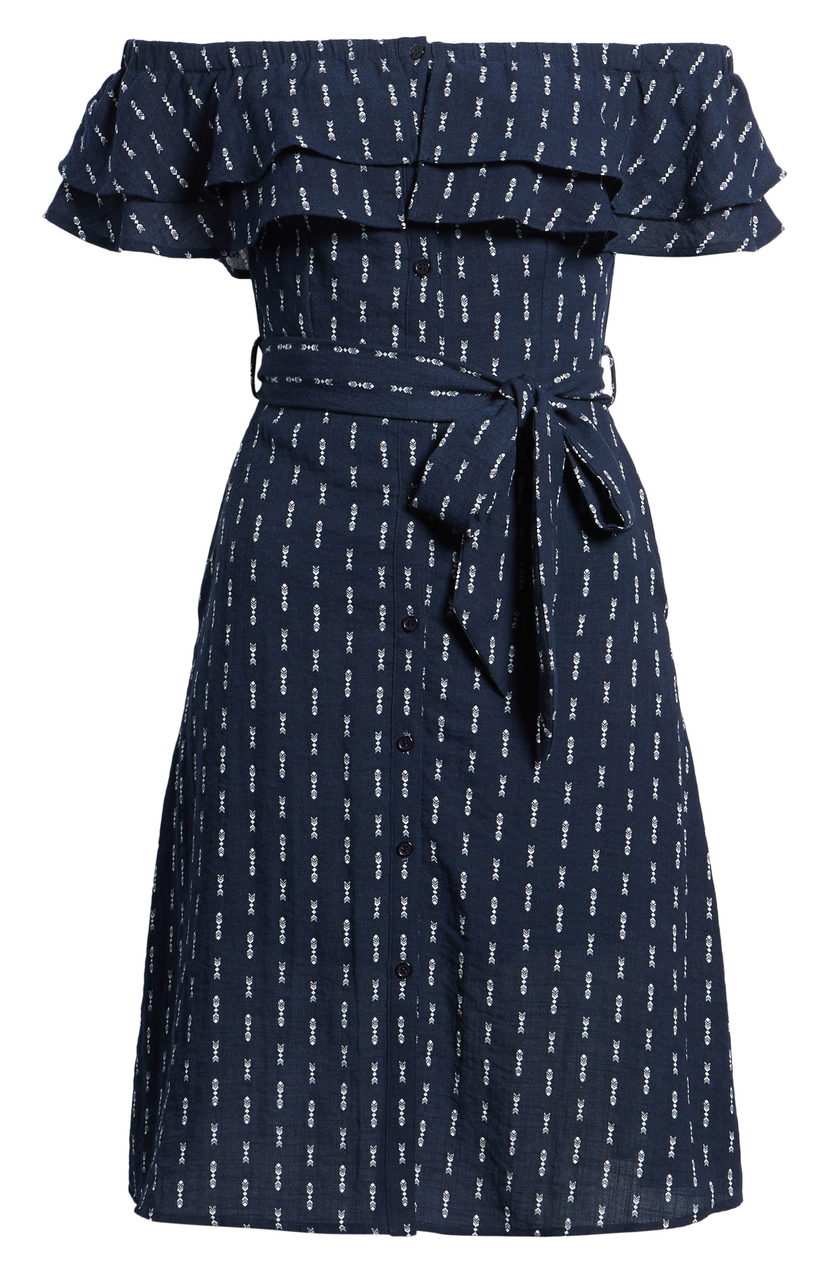 Melrose Off the Shoulder Dress,                             Alternate thumbnail 8, color,                             Navy