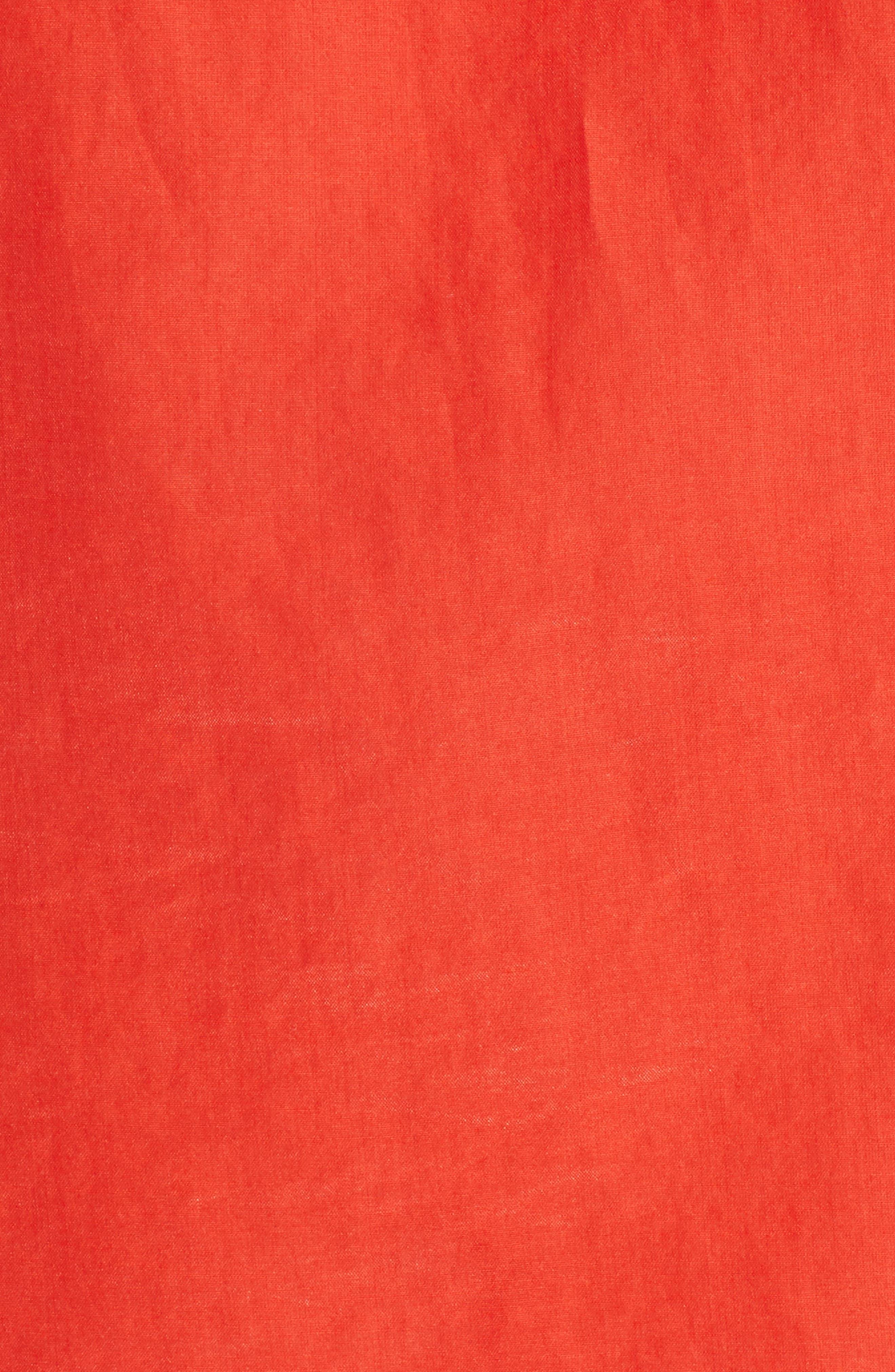 Silk and Cotton Ruffled Top,                             Alternate thumbnail 6, color,                             Cardinal
