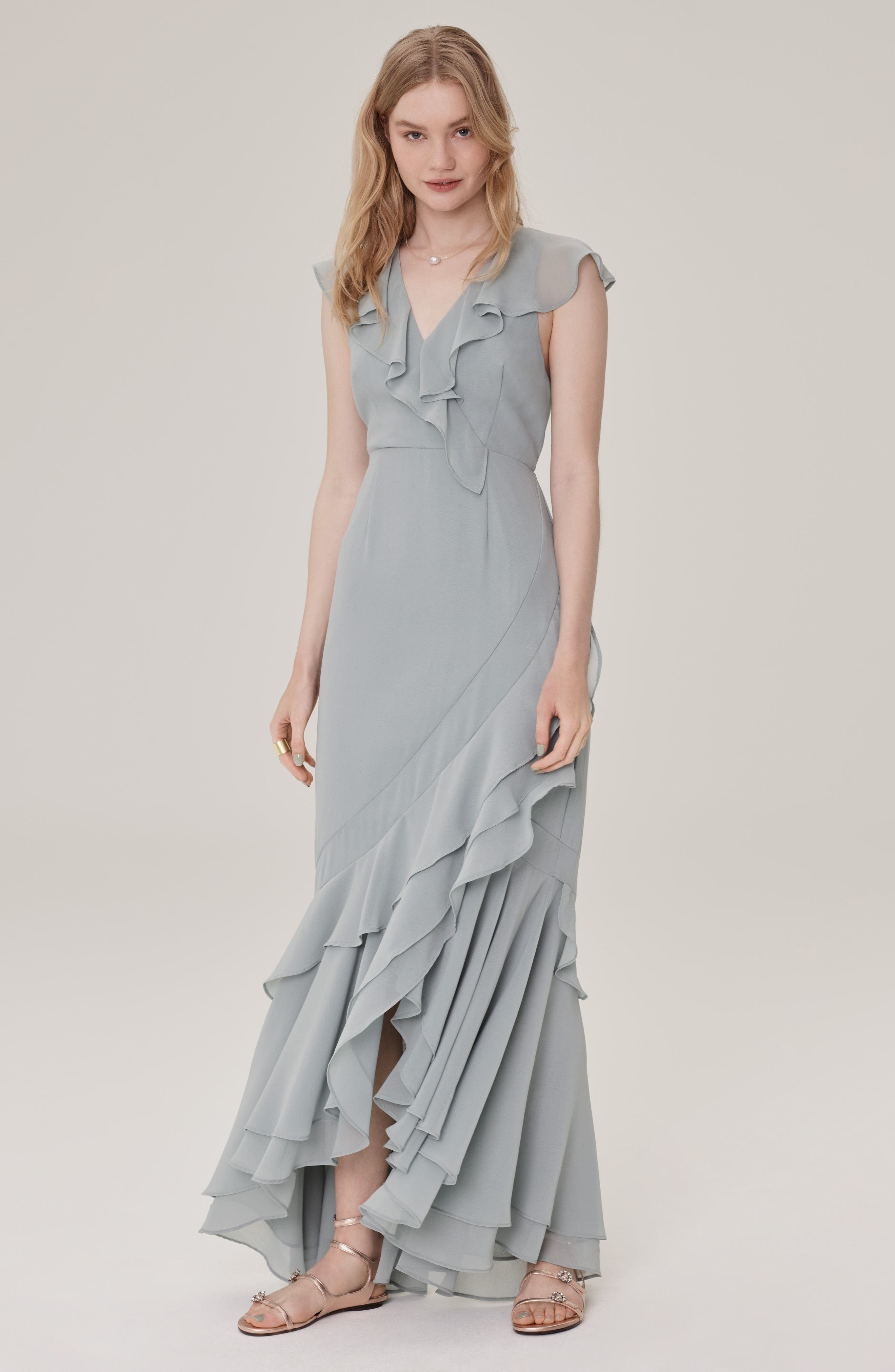 C/MEO Be About You Ruffle Gown,                             Alternate thumbnail 3, color,                             Sage
