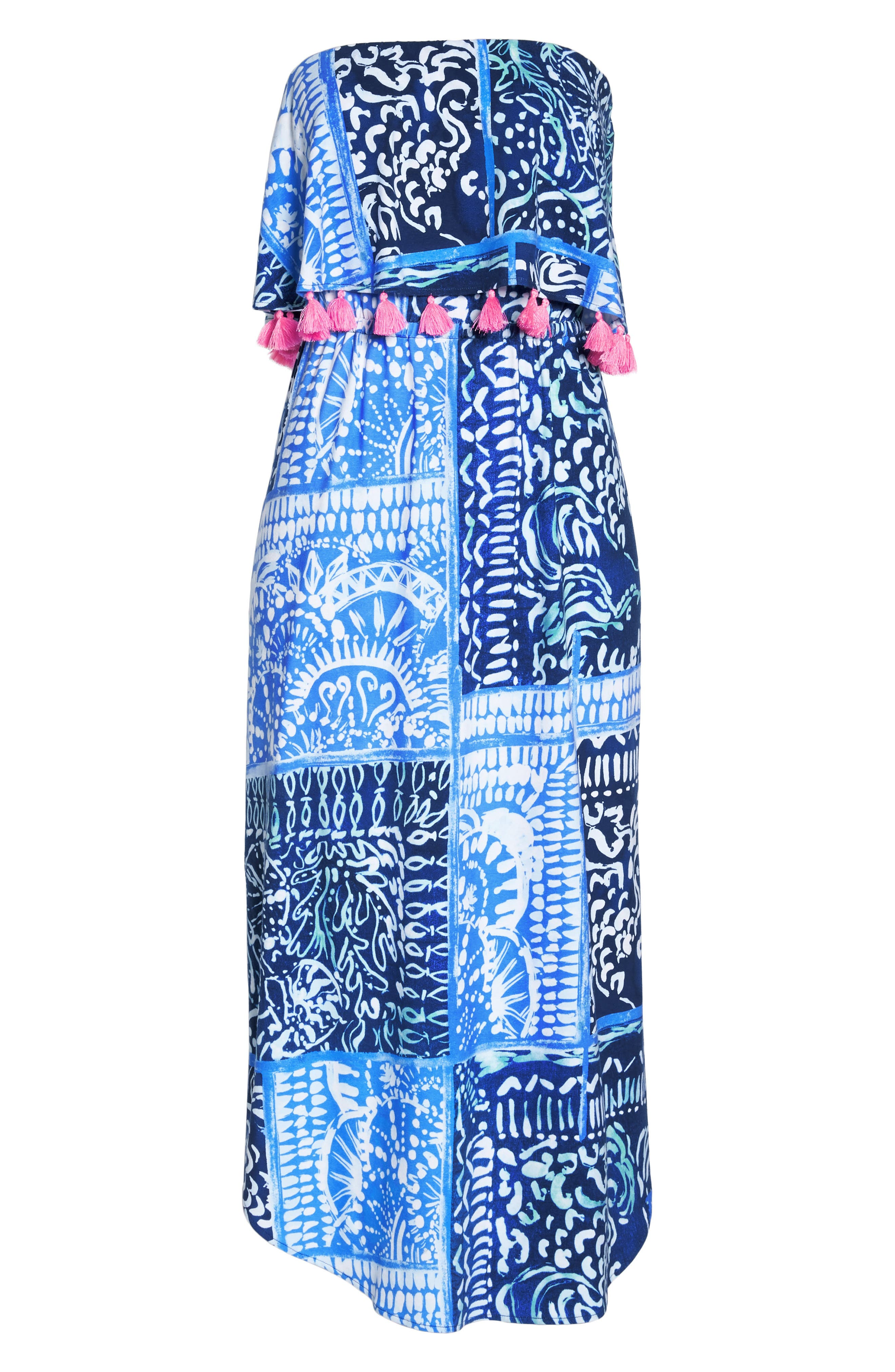 Meridian Strapless Midi Dress,                             Alternate thumbnail 6, color,                             Deep Indigo Leid Back