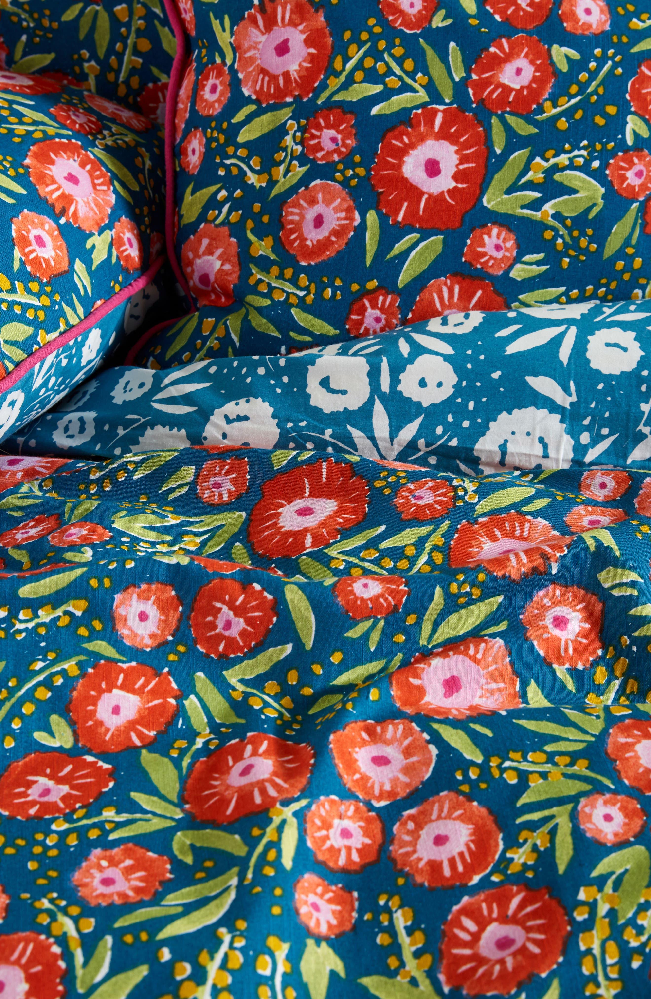 Painted Poppies Duvet Cover,                             Alternate thumbnail 2, color,                             Blue