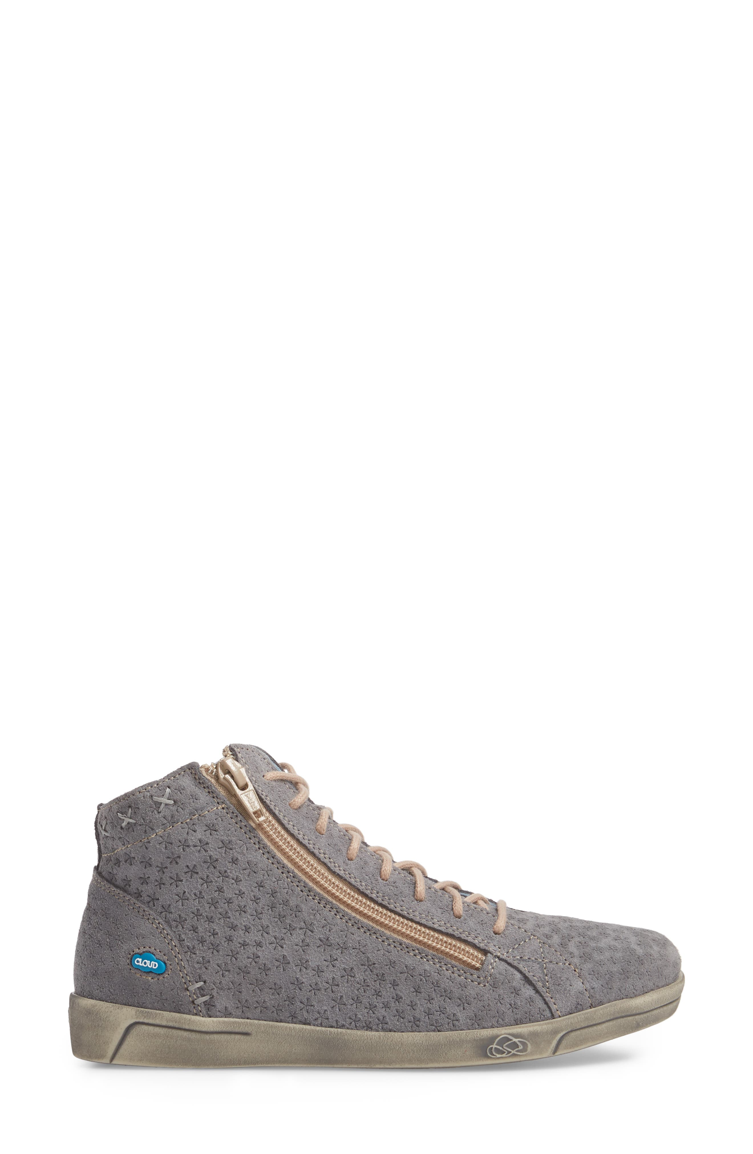 Aika Star Perforated High Top Sneaker,                             Alternate thumbnail 3, color,                             Grey Leather