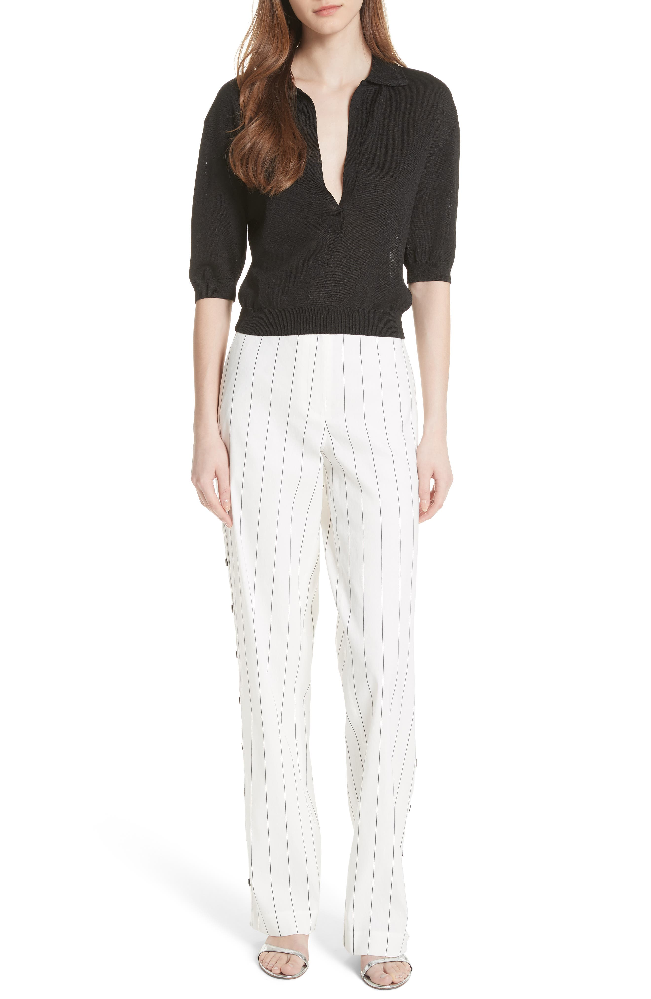 Snap Side Stripe Pants,                             Alternate thumbnail 5, color,                             Ivory Multi