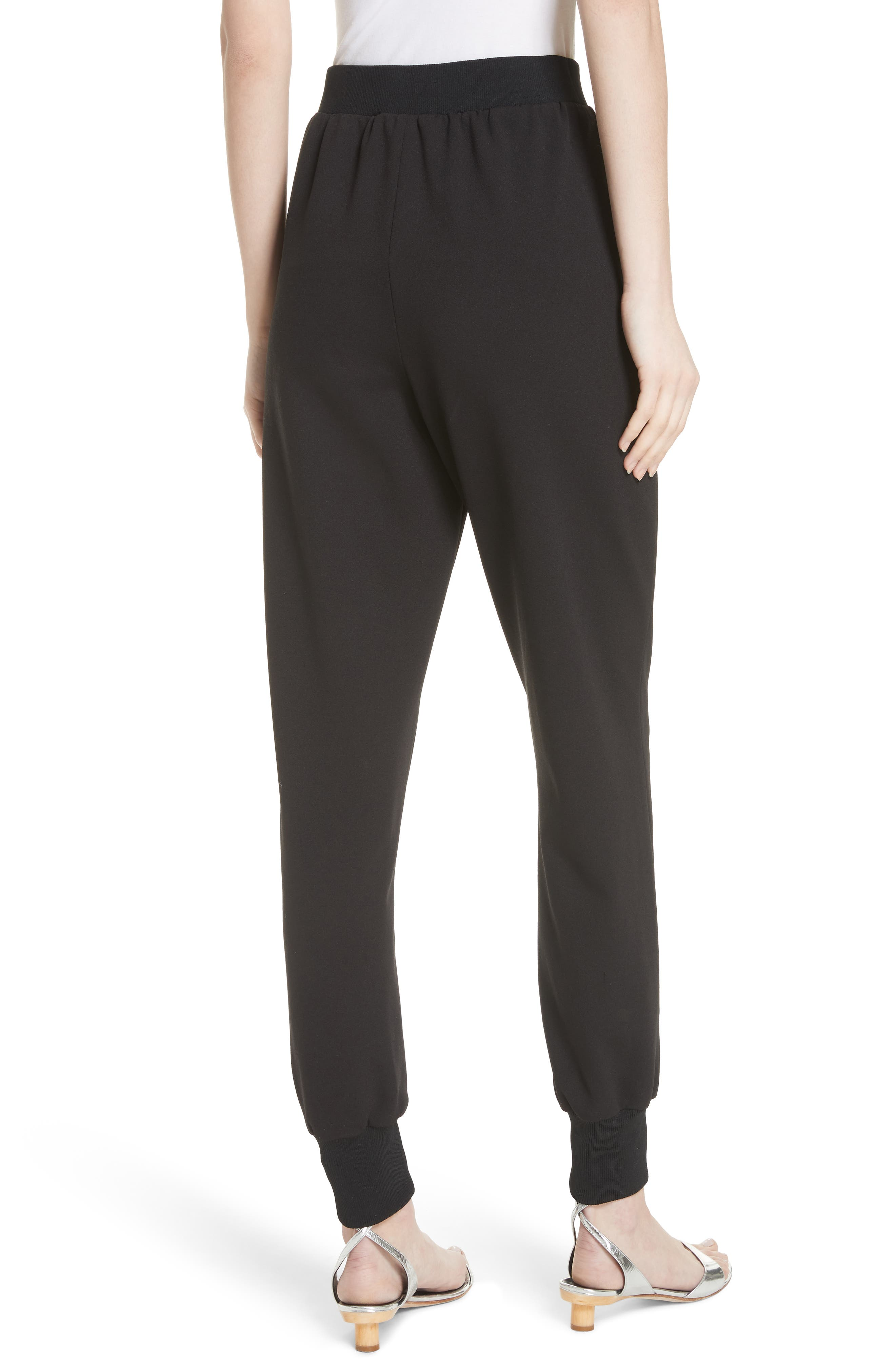 Structured Crepe Jogger Pants,                             Alternate thumbnail 2, color,                             Black