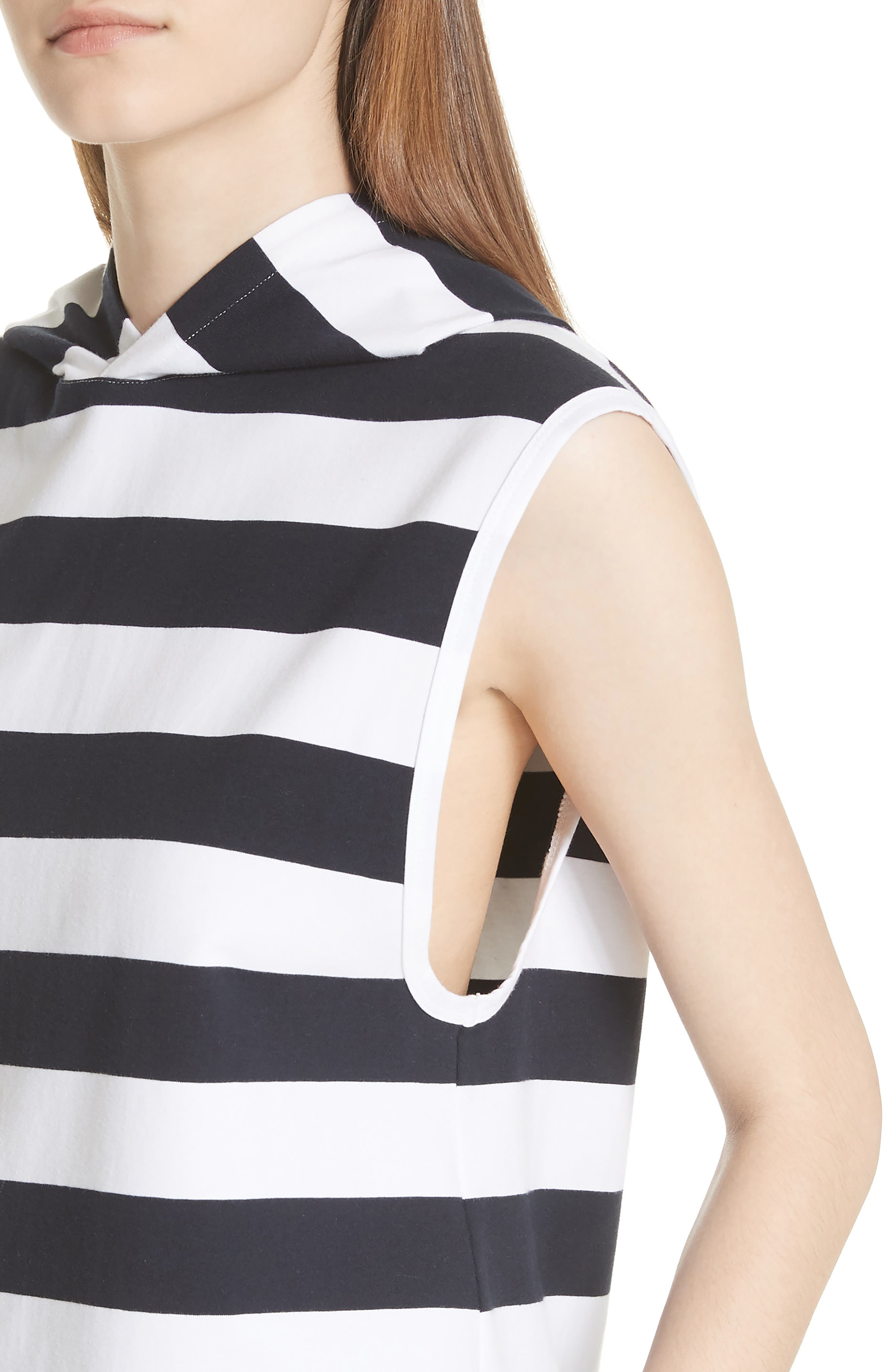 Muscle Stripe Stretch Cotton Tee,                             Alternate thumbnail 4, color,                             Navy/ White Multi