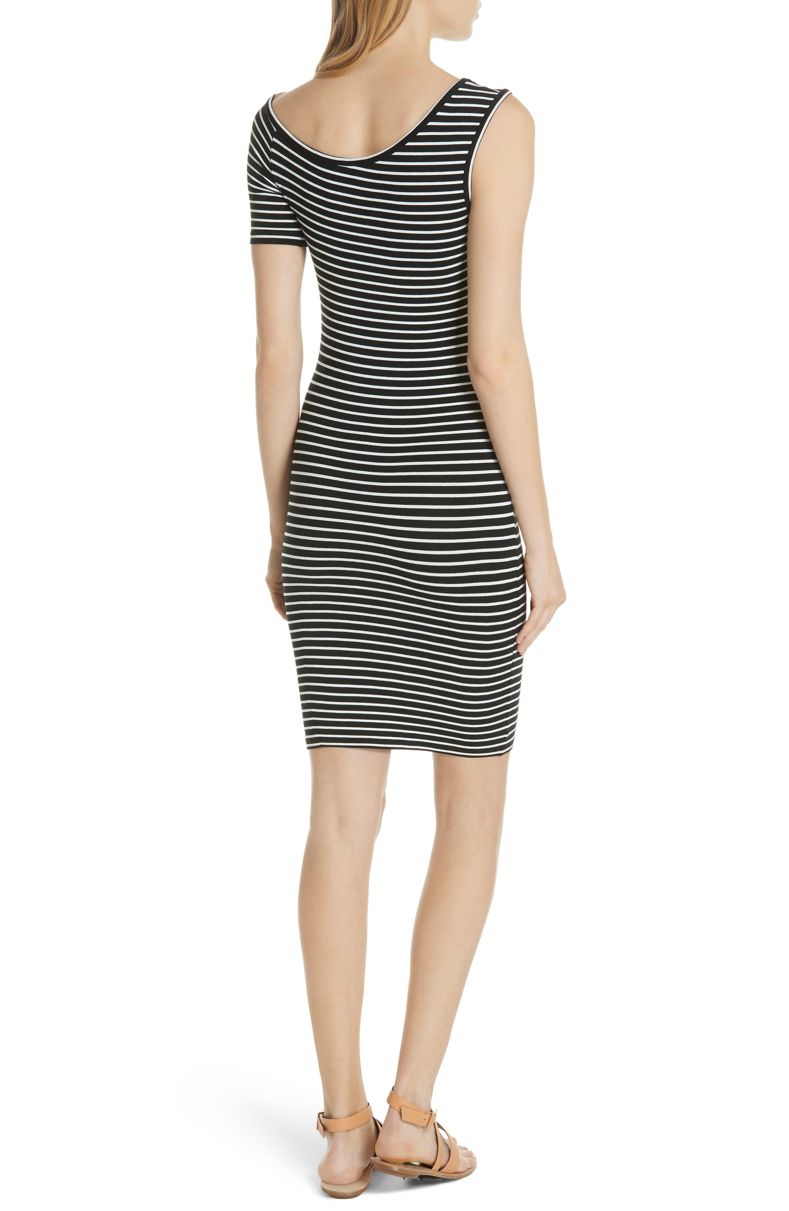 Stripe One-Sleeve Body-Con Dress,                             Alternate thumbnail 2, color,                             Noir Multi