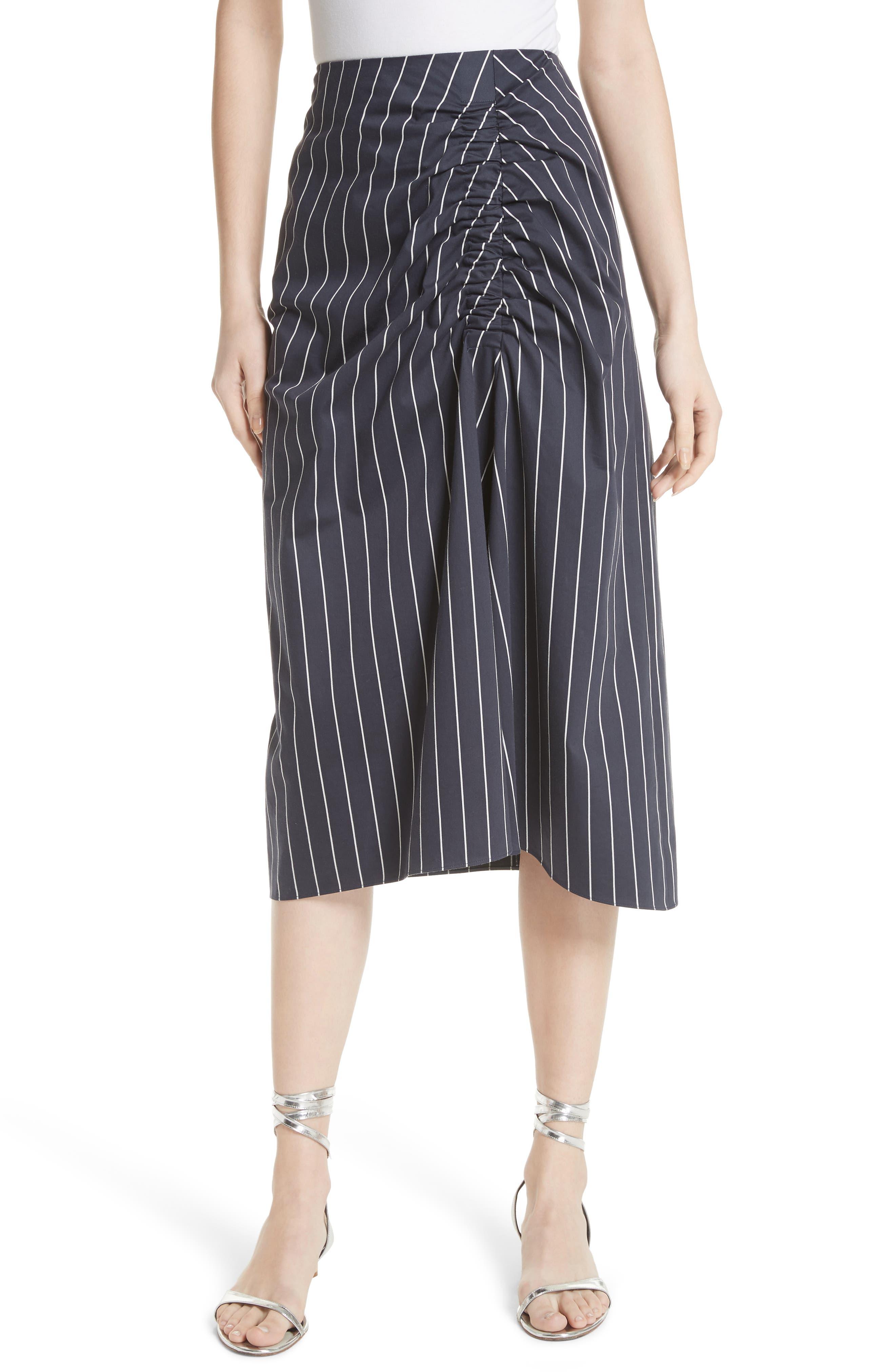 Stripe Sateen Skirt,                         Main,                         color, Navy Multi