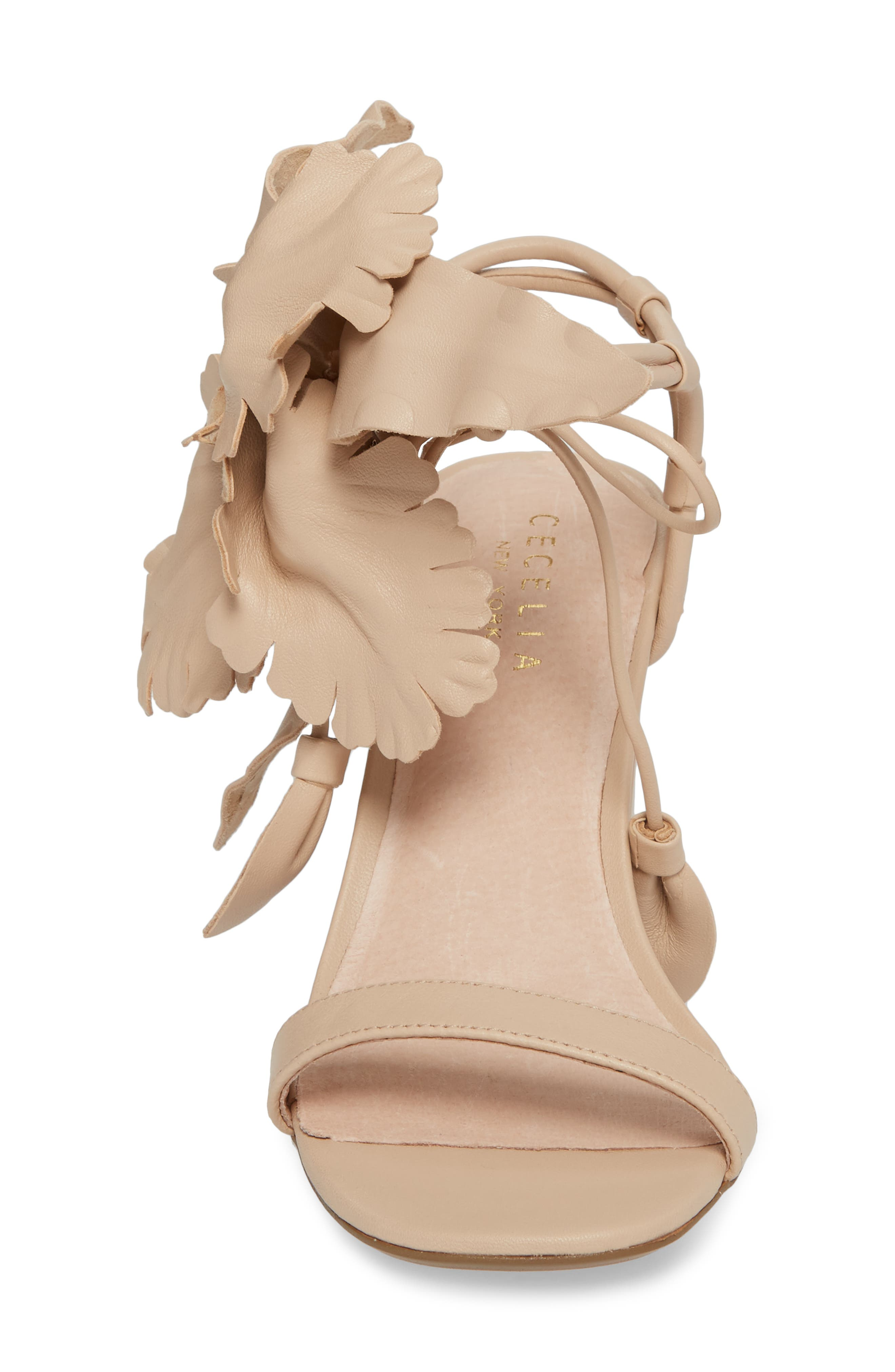 Hibiscus Sandal,                             Alternate thumbnail 4, color,                             Nude Leather