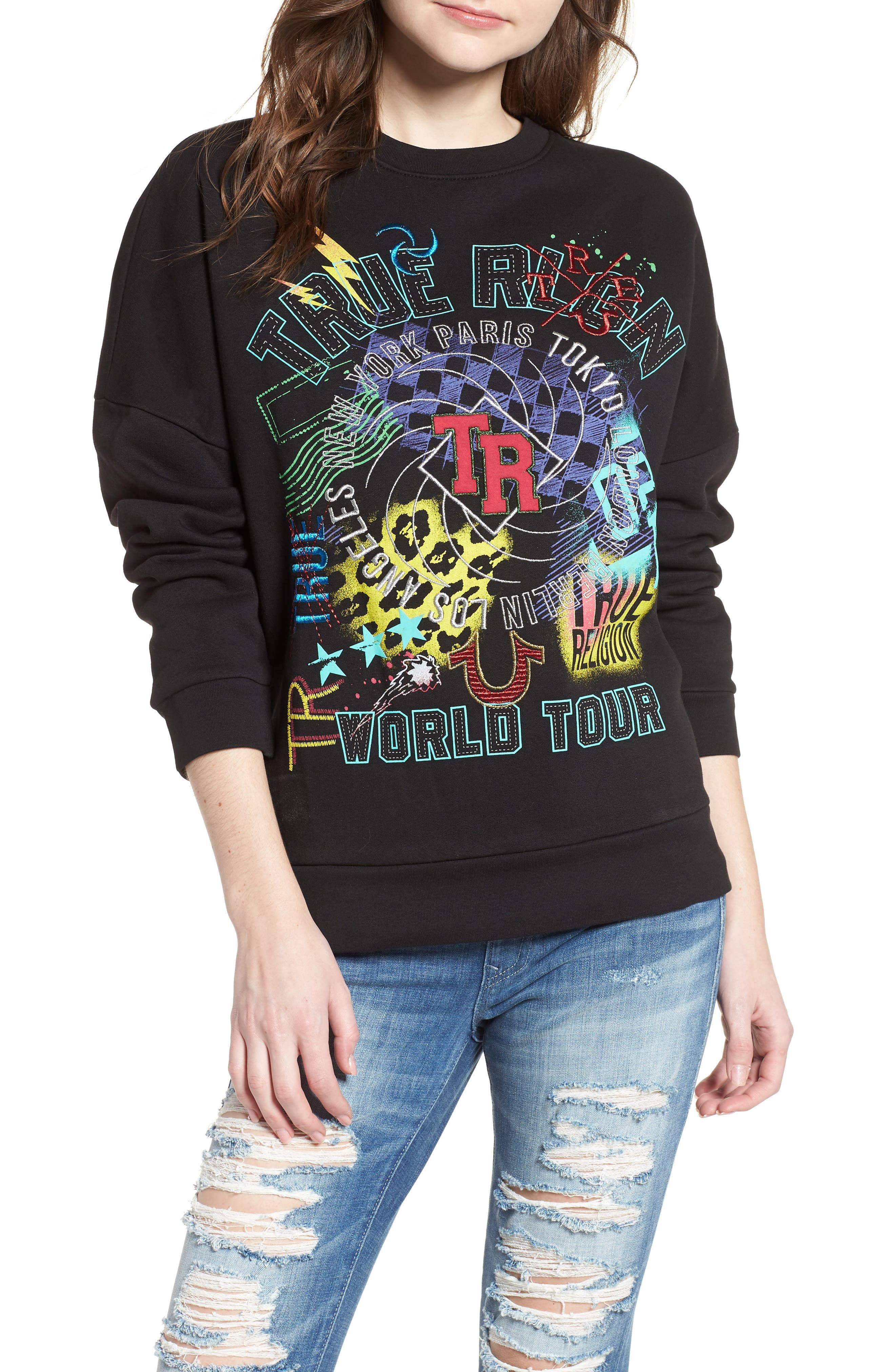 True Religion Brand Jeans Embroidered Sweatshirt