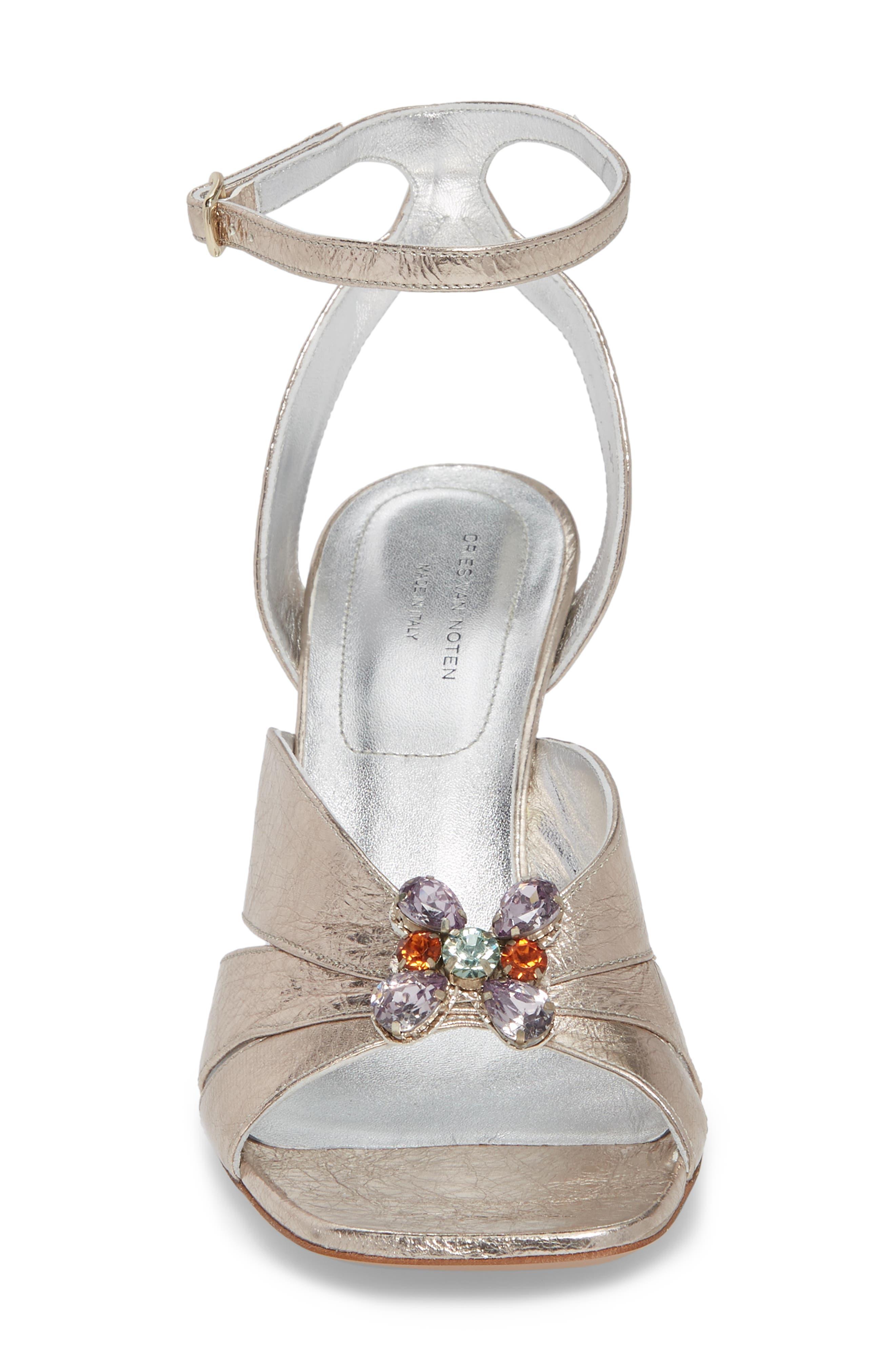Metallic Brooch Sandal,                             Alternate thumbnail 4, color,                             Silver