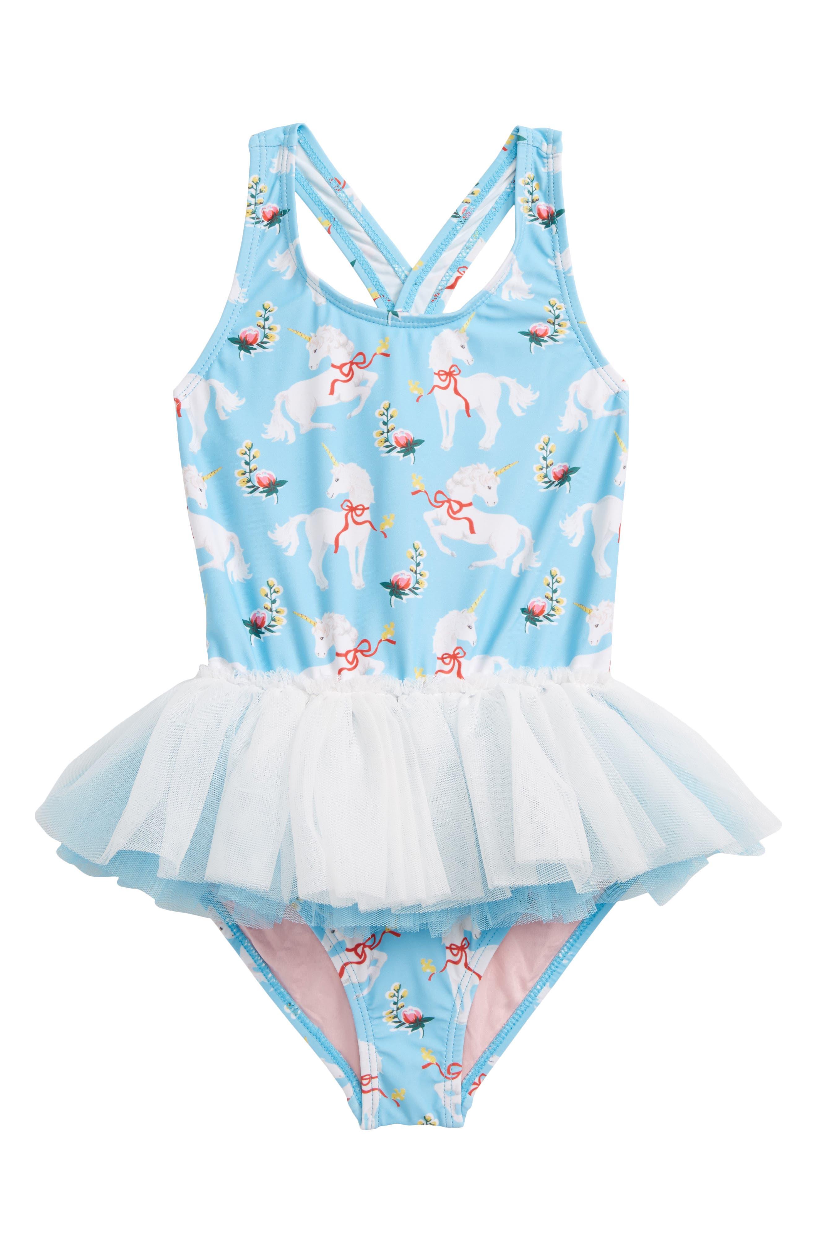 Unicorns Tulle One-Piece Swimsuit,                         Main,                         color, Blue