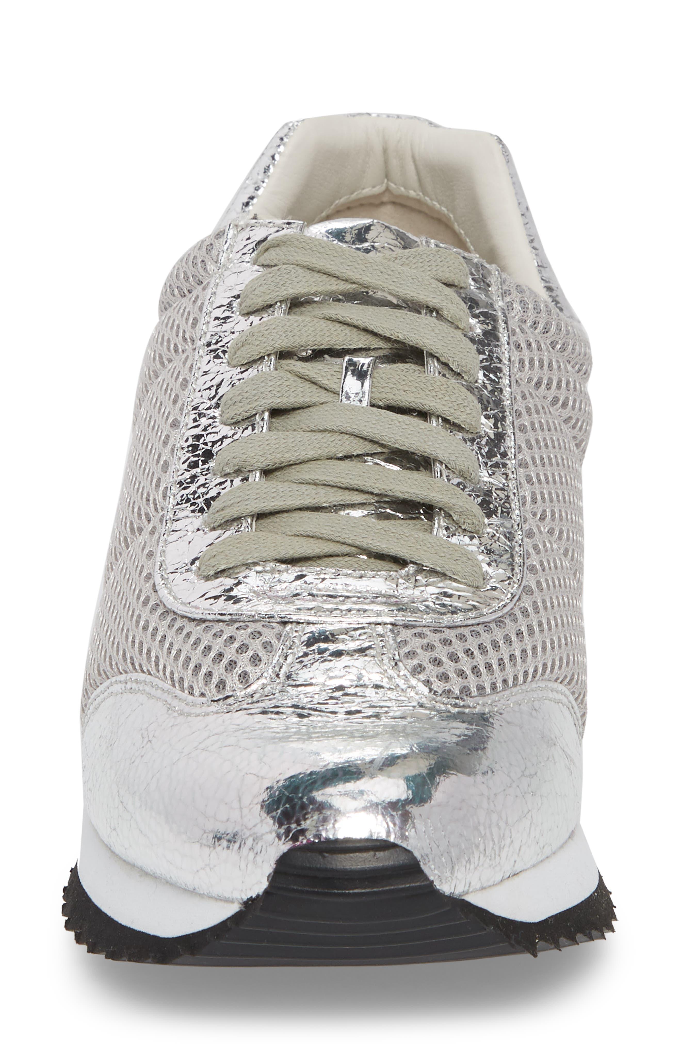 Jaclyn Mesh Sneaker,                             Alternate thumbnail 4, color,                             Silver