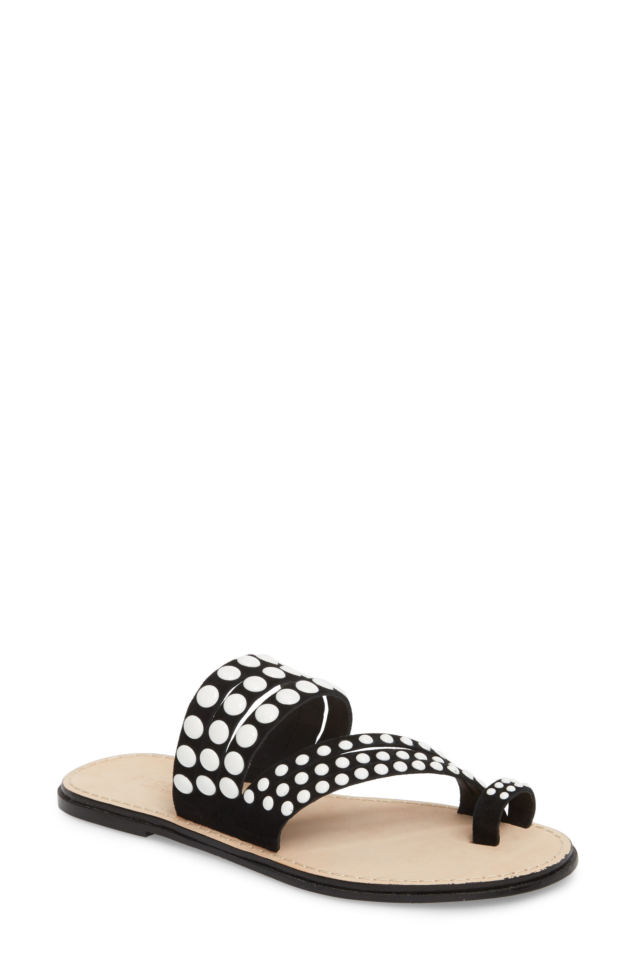 Pezz Studded Sandal,                             Main thumbnail 1, color,                             Black Suede