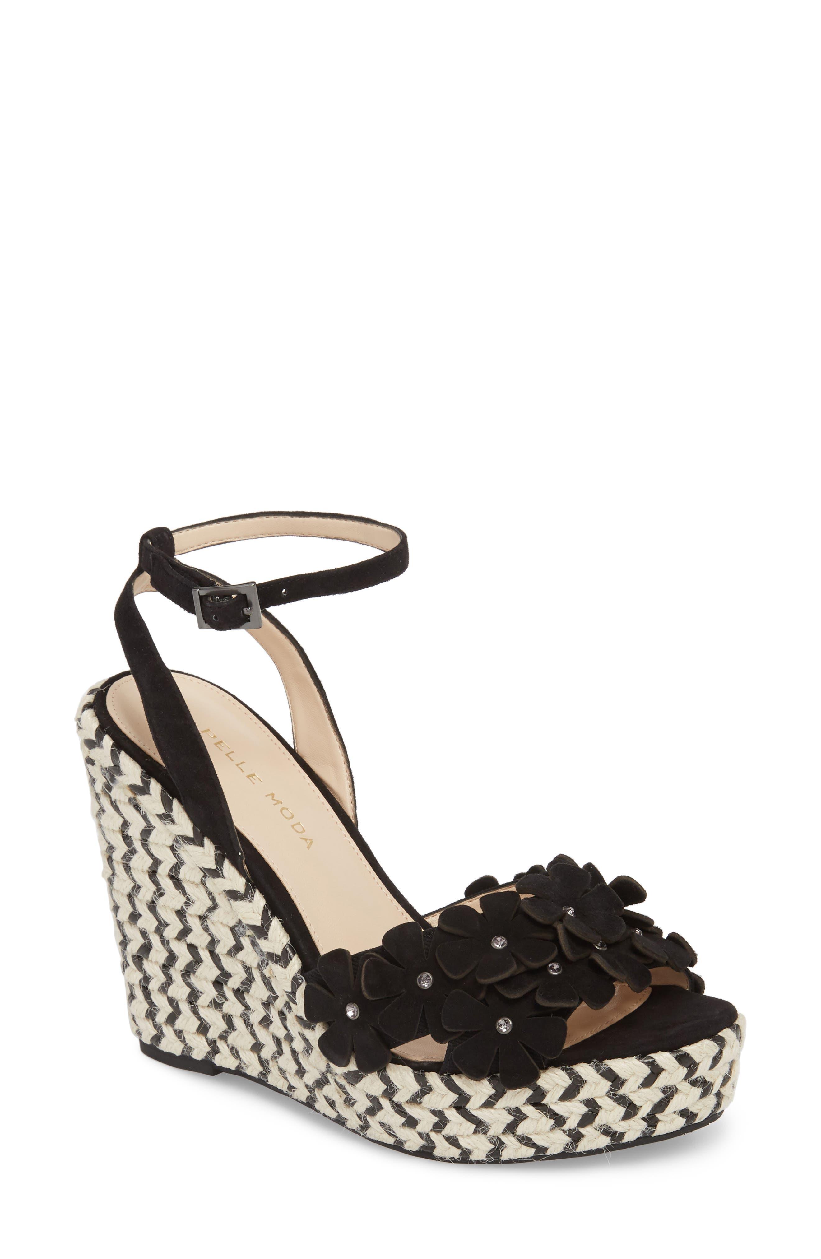 Waylin Espadrille Wedge Sandal,                         Main,                         color, Black Suede