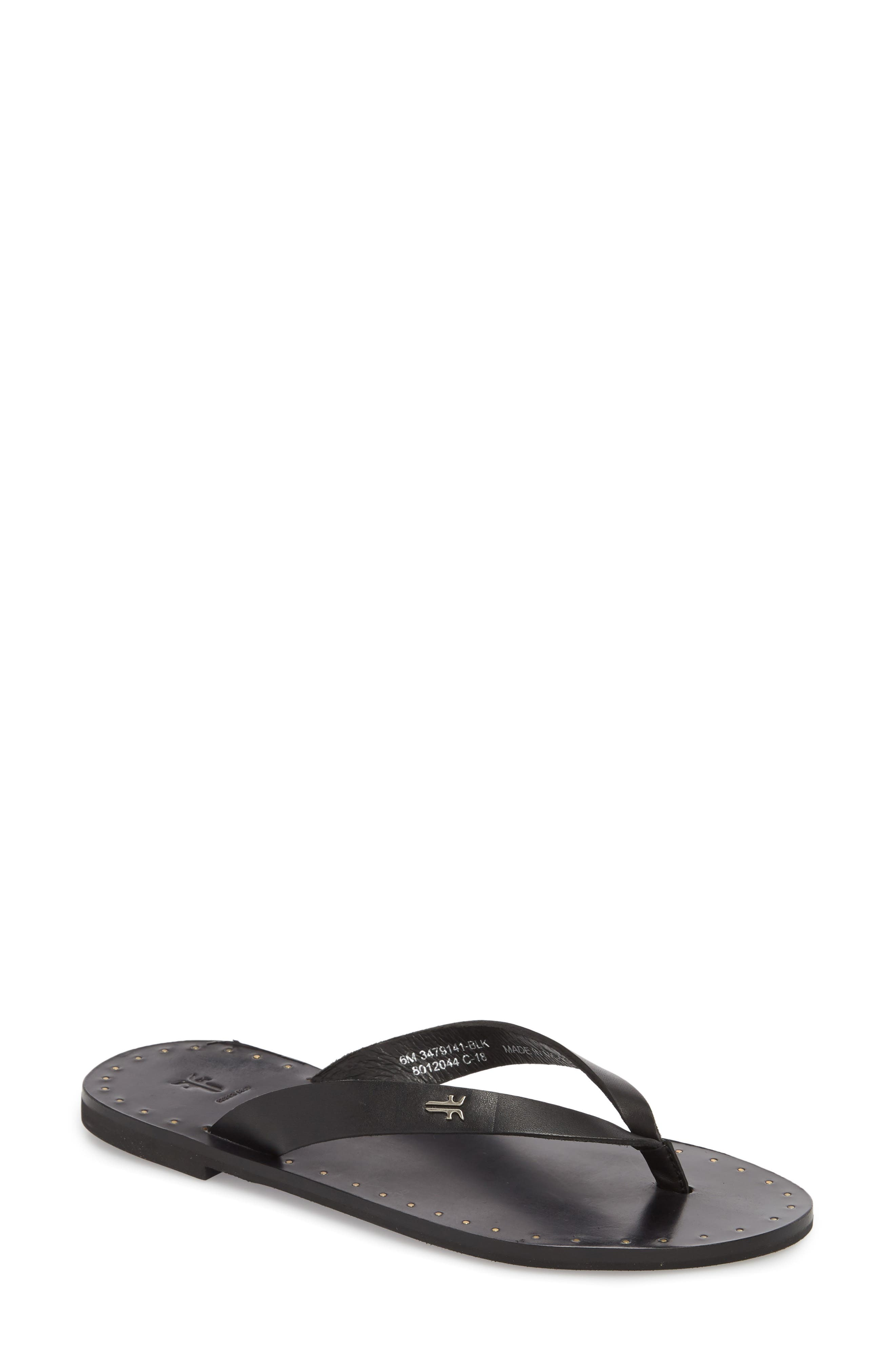 Ally Flip Flop,                             Main thumbnail 1, color,                             Black Leather