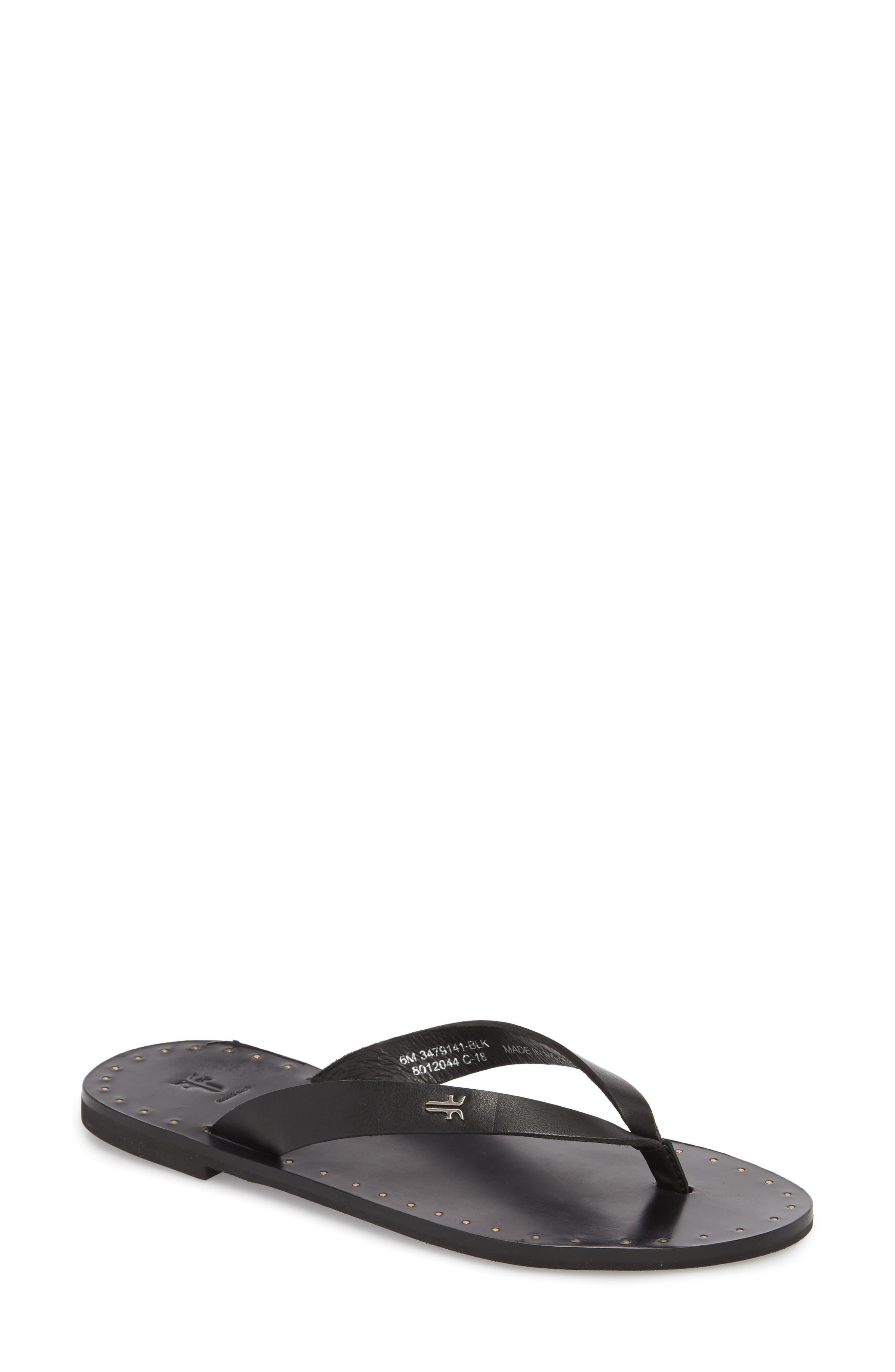 Ally Flip Flop,                         Main,                         color, Black Leather