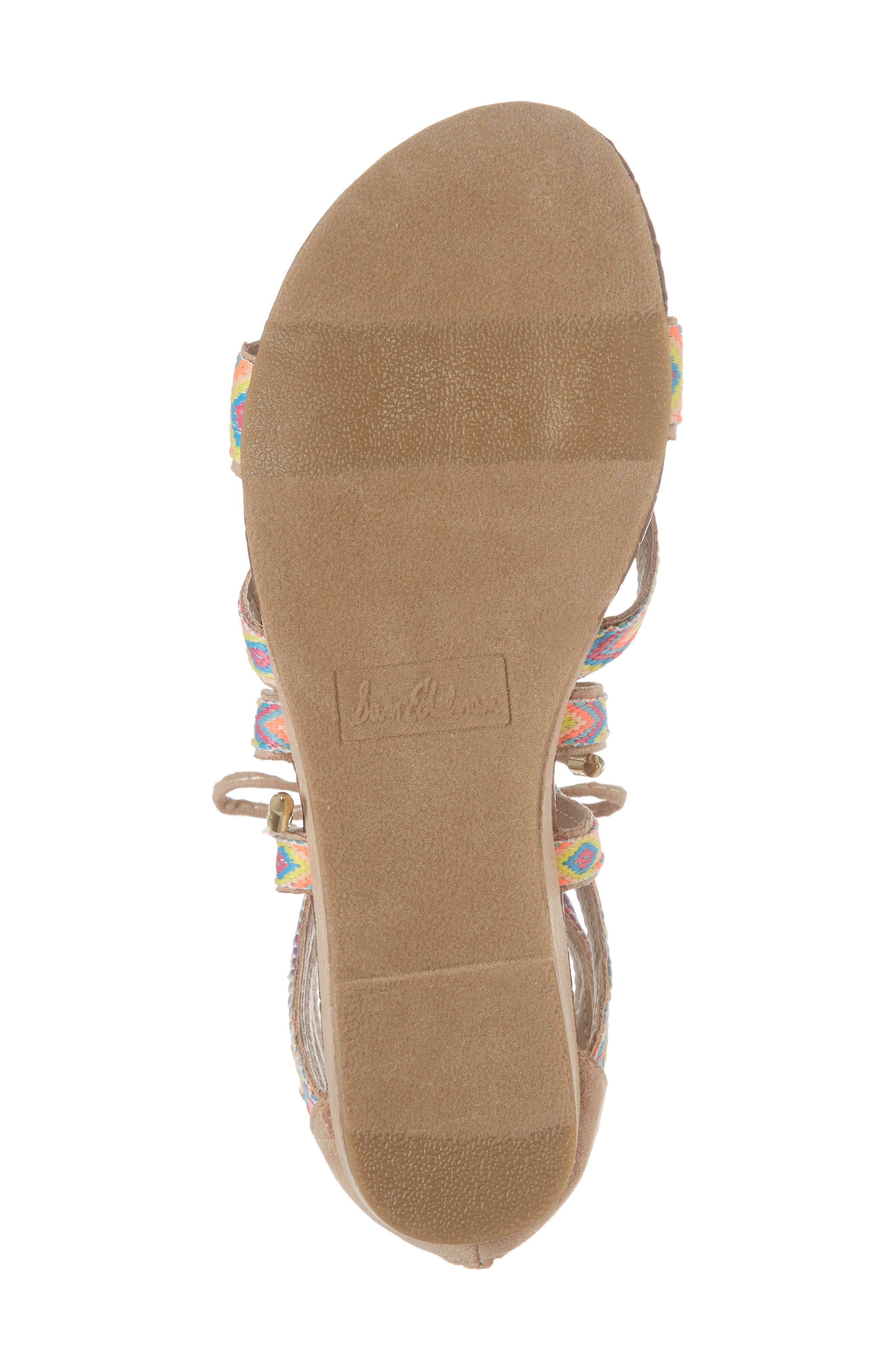 Danica Friendship Ghillie Wedge Sandal,                             Alternate thumbnail 6, color,                             Natural Faux Suede