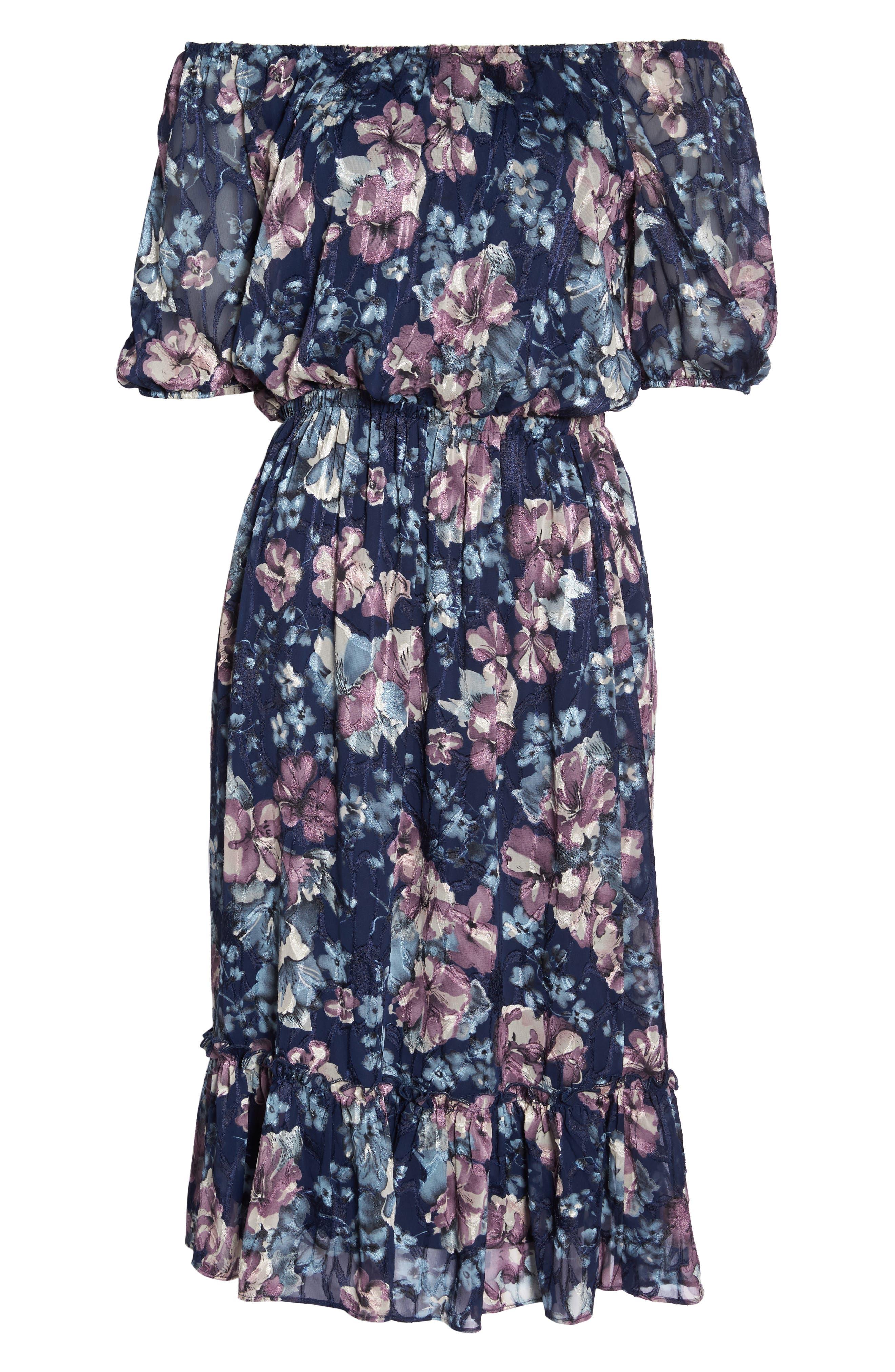 Floral Burnout Off the Shoulder Blouson Dress,                             Alternate thumbnail 7, color,                             Navy Multi
