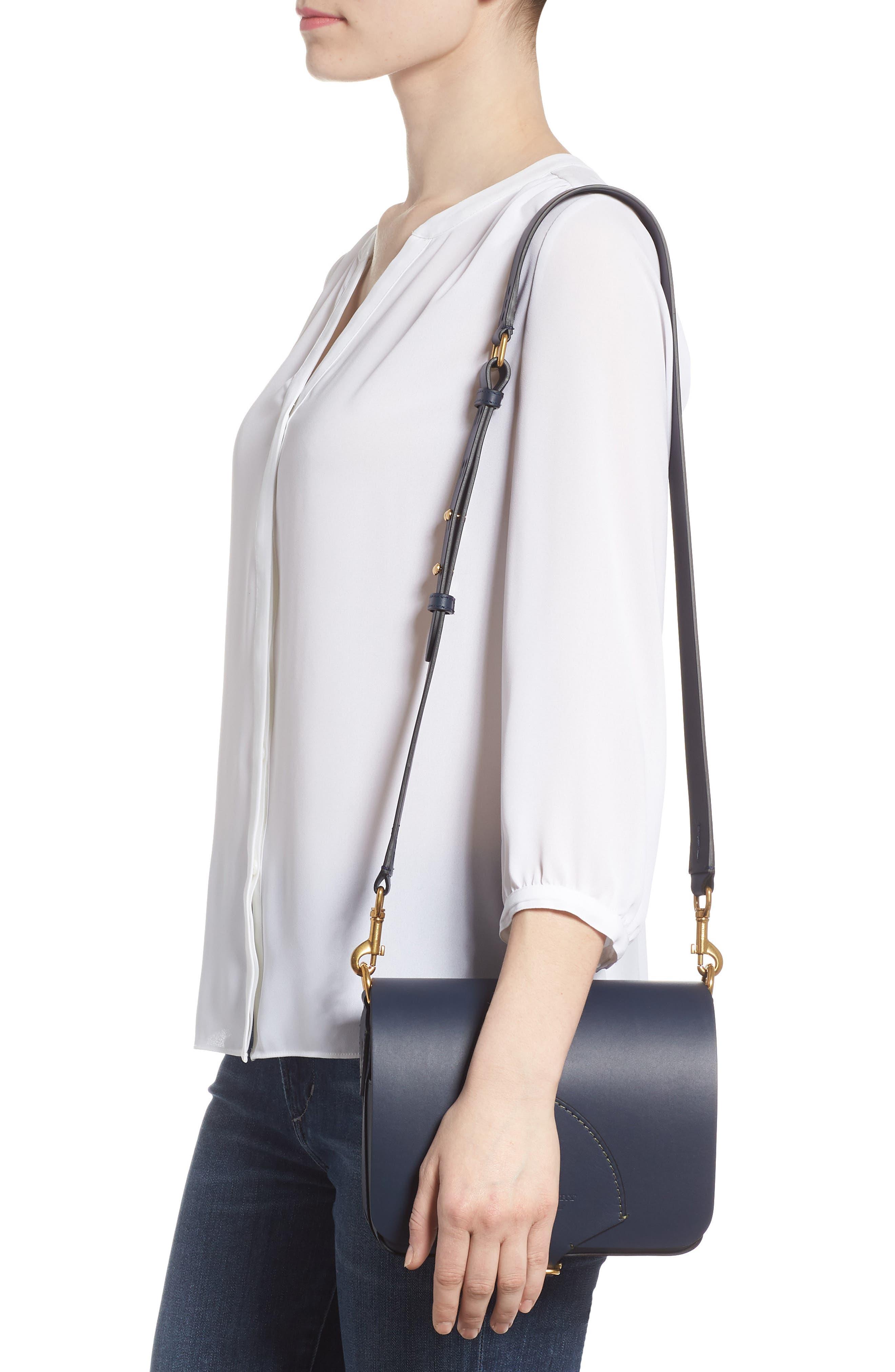 Large Square Leather Shoulder Bag,                             Alternate thumbnail 2, color,                             Mid Indigo