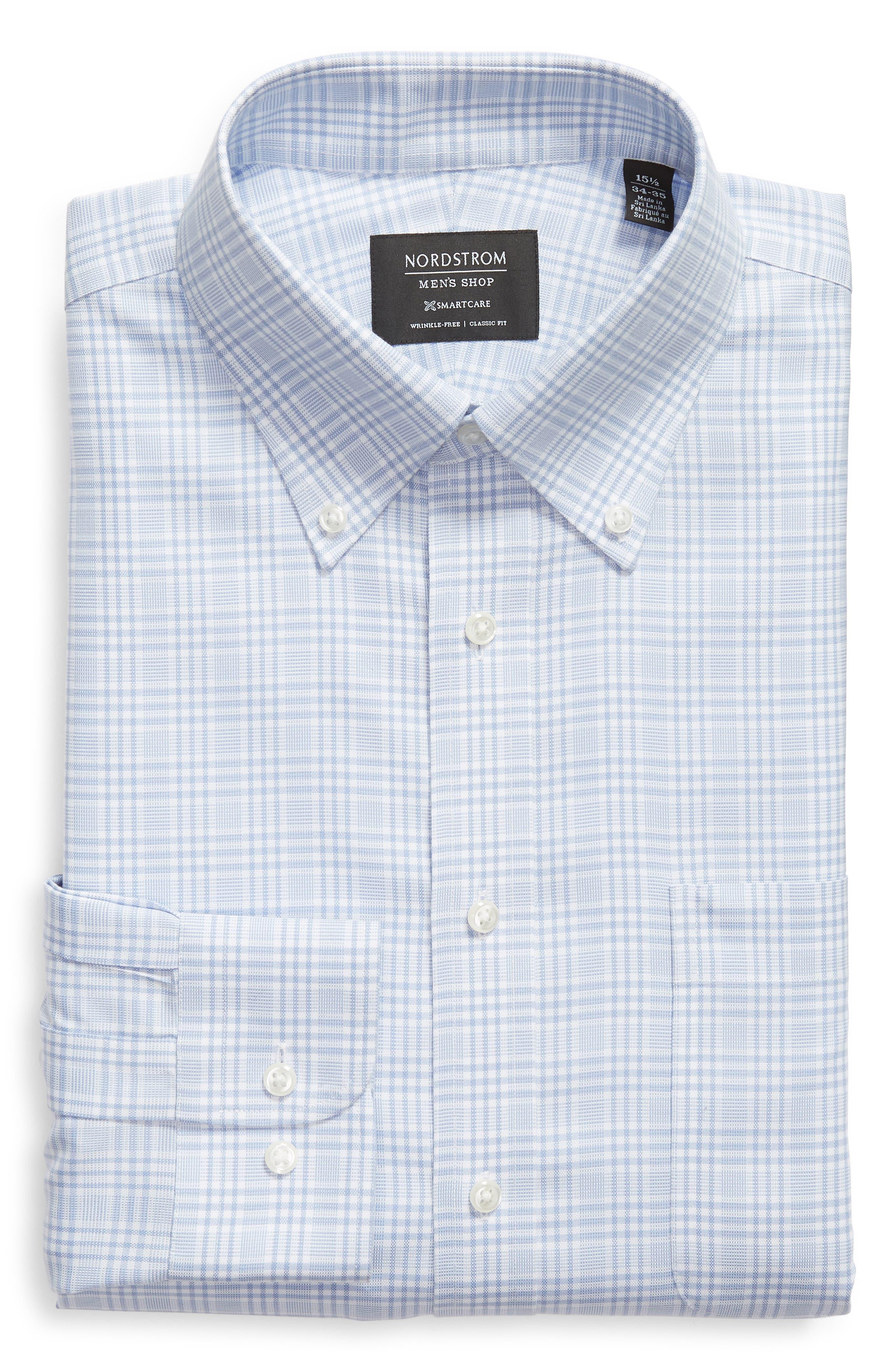 Smartcare<sup>™</sup> Classic Fit Plaid Dress Shirt,                             Alternate thumbnail 6, color,                             Blue Brunnera