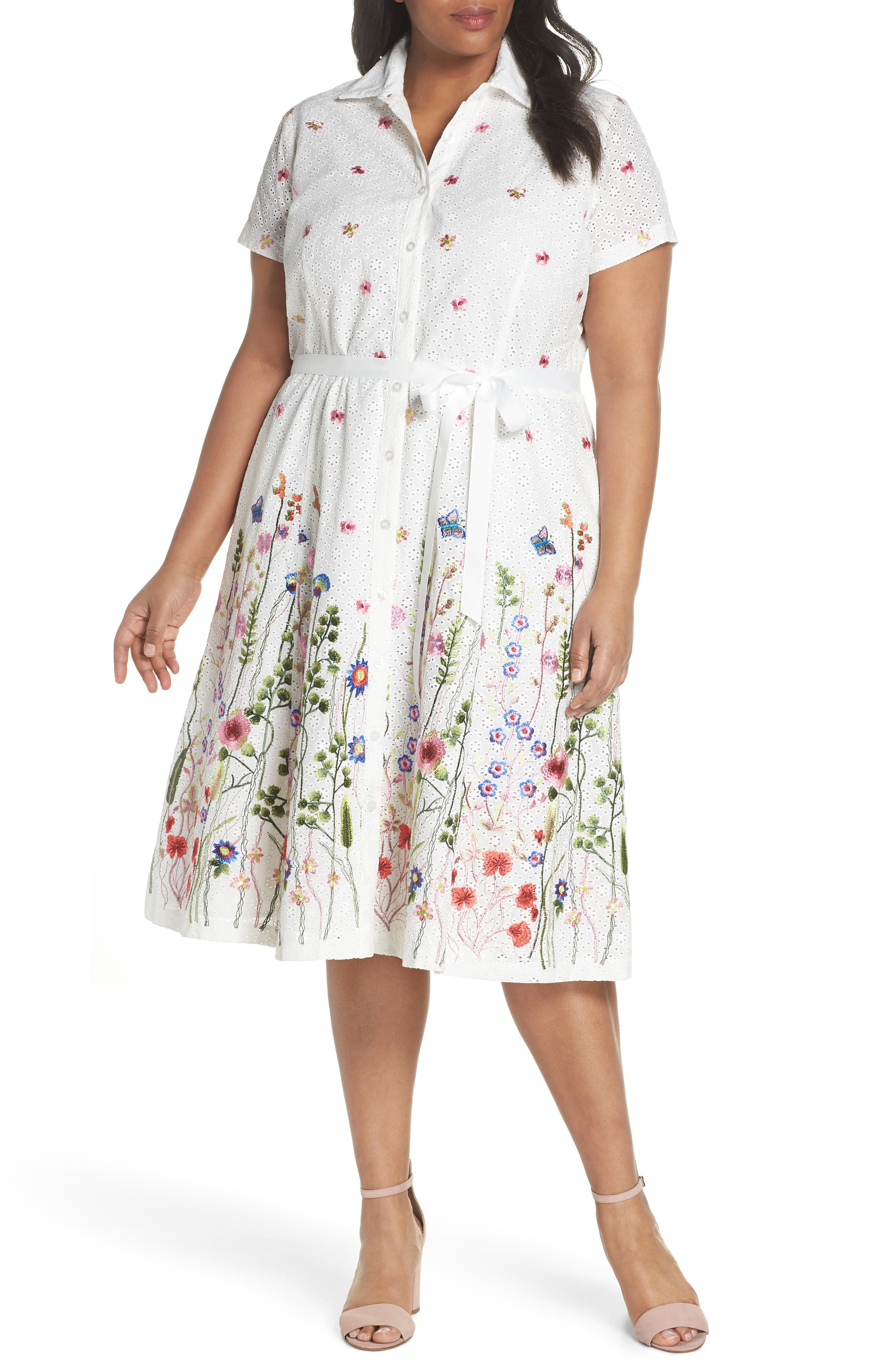Floral Embroidered Eyelet Shirtdress,                         Main,                         color, White/ Royal/ Green