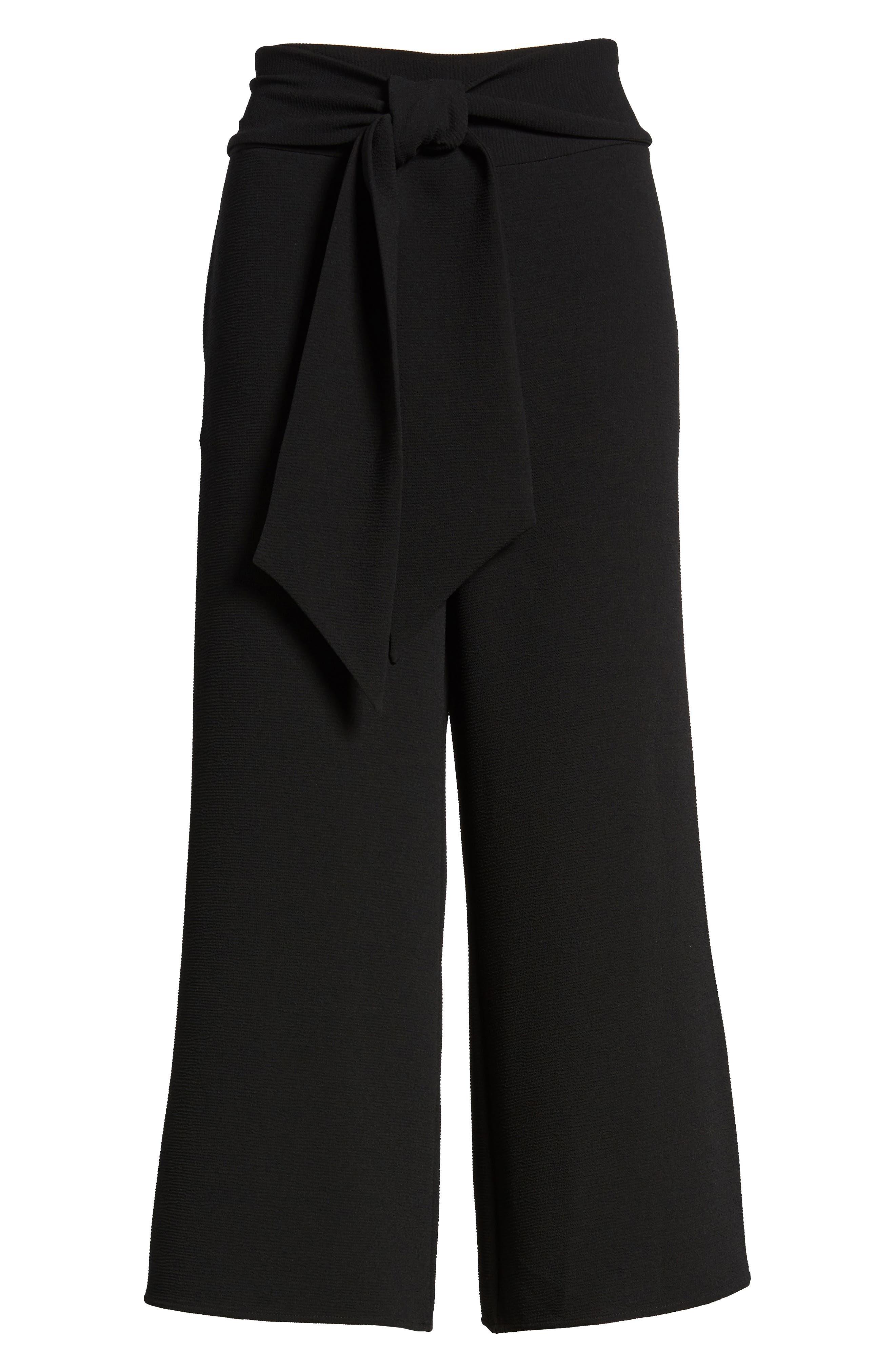 Trouvé Tie Front Wide Leg Pants,                             Alternate thumbnail 7, color,                             Black