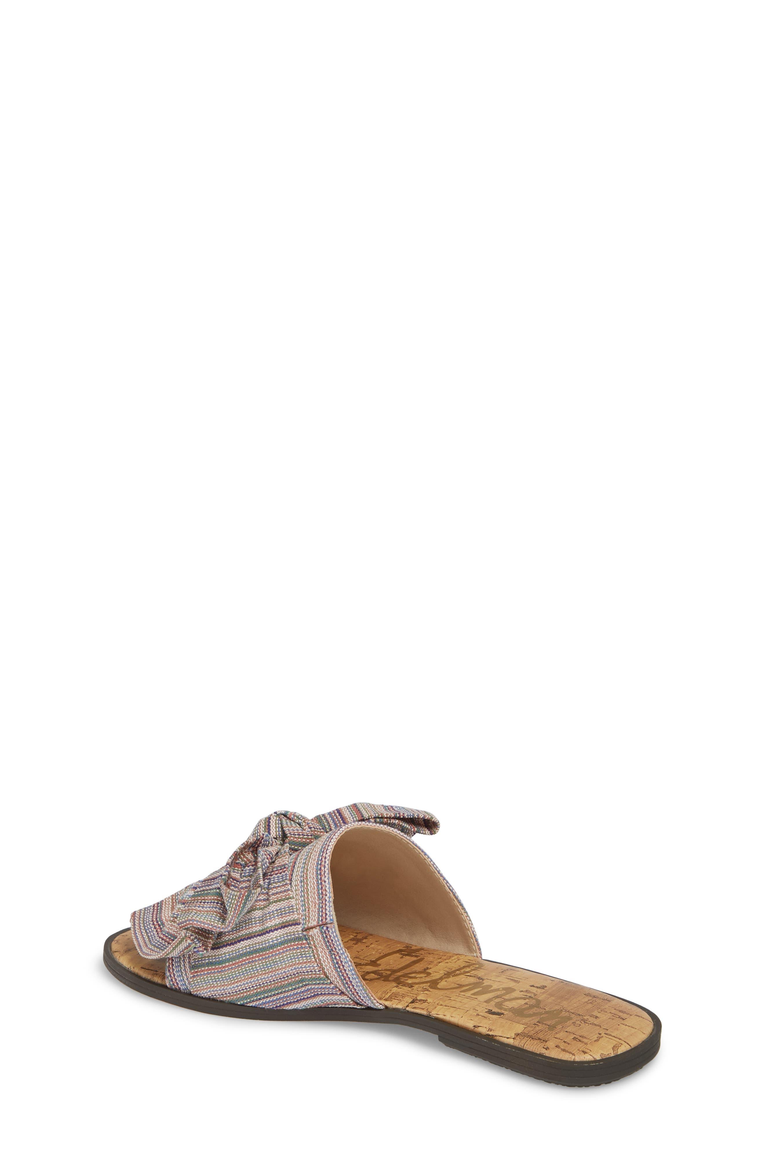 Gigi Bow Faux Leather Sandal,                             Alternate thumbnail 2, color,                             Tan Multi Fabric