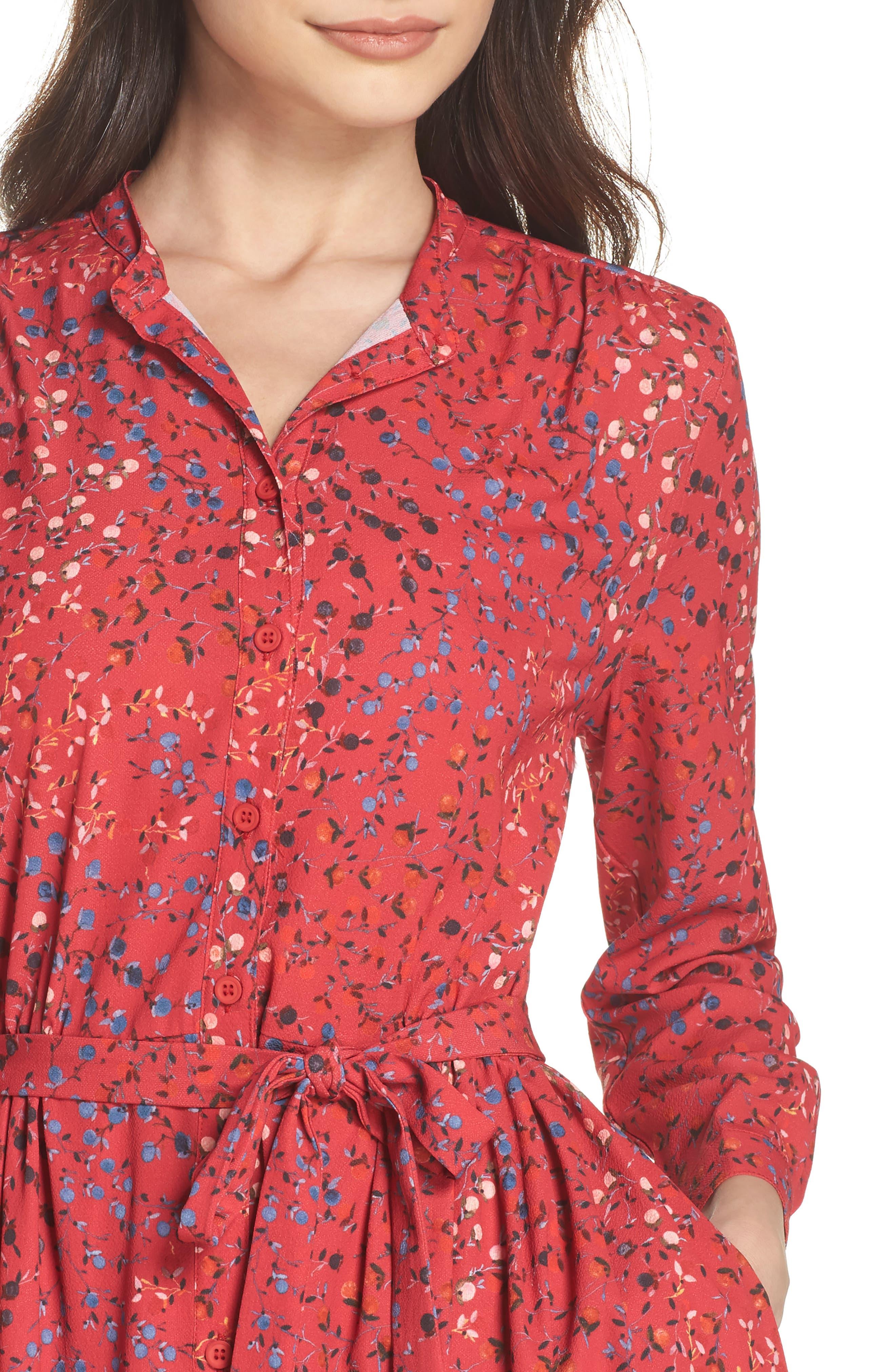 Frances Drape Shirtdress,                             Alternate thumbnail 4, color,                             Watermelon