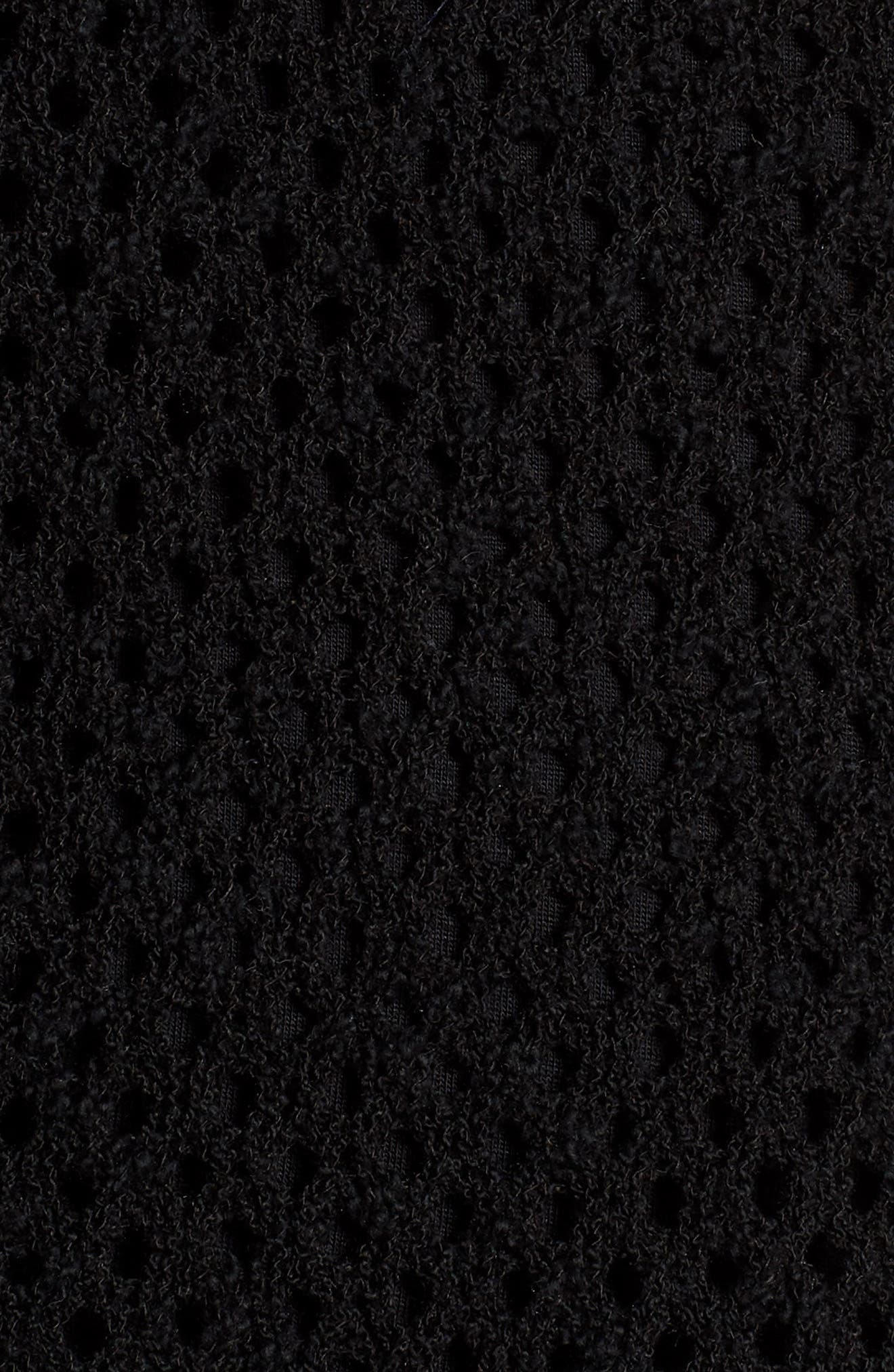 Pointelle Stitch Bell Sleeve Sweater,                             Alternate thumbnail 6, color,                             Rich Black