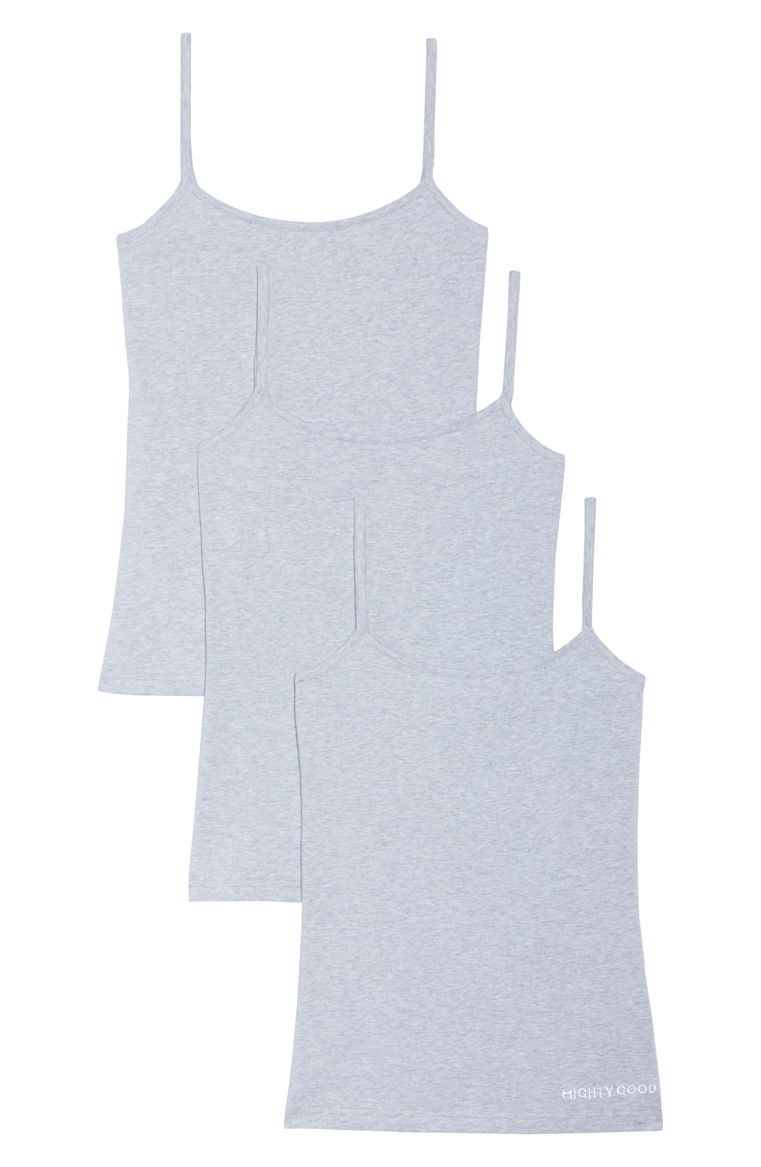 3-Pack Stretch Organic Cotton Camisoles,                             Alternate thumbnail 2, color,                             Grey Marle
