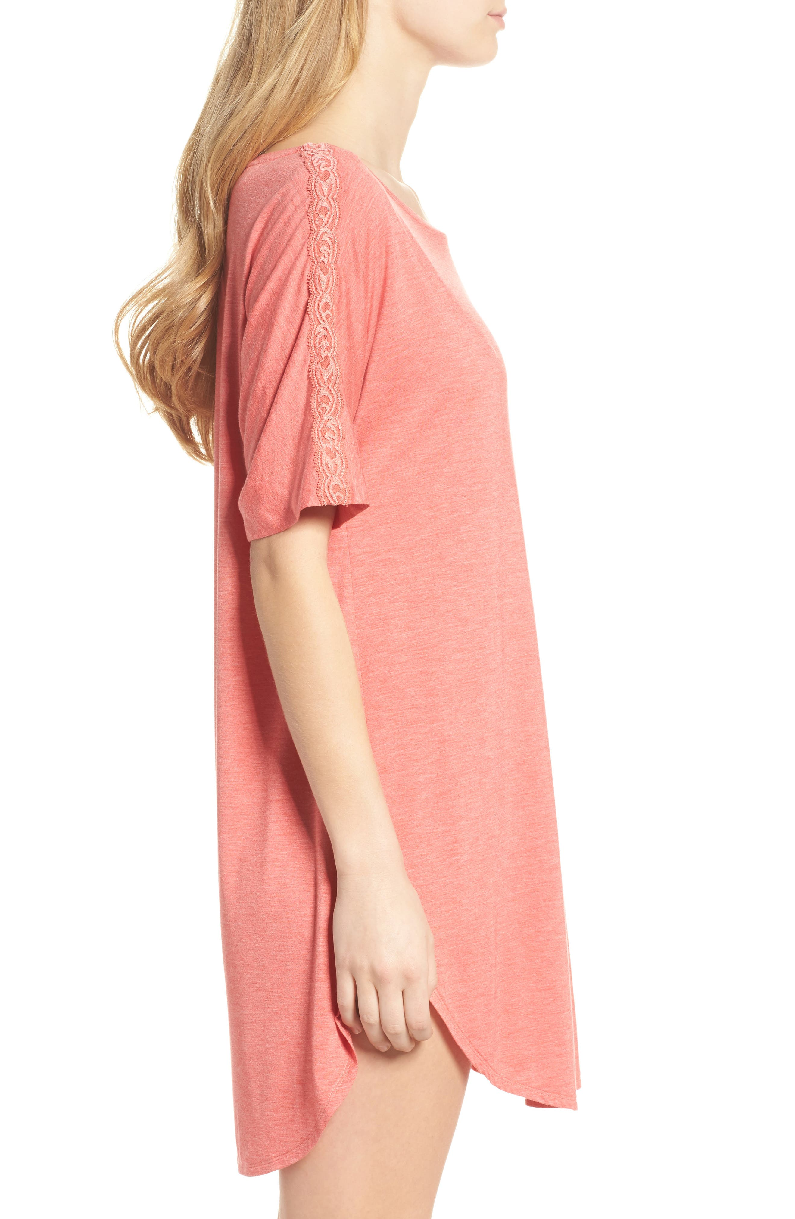 Feathers Essential Sleep Shirt,                             Alternate thumbnail 4, color,                             Coral